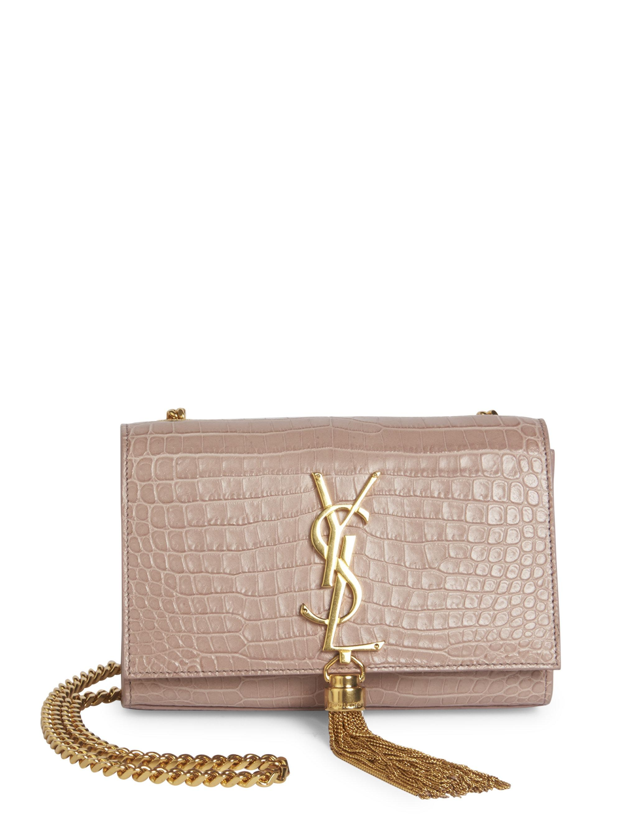 6756c7779014 Lyst - Saint Laurent Small Kate Monogram Tassel Croc-embossed ...