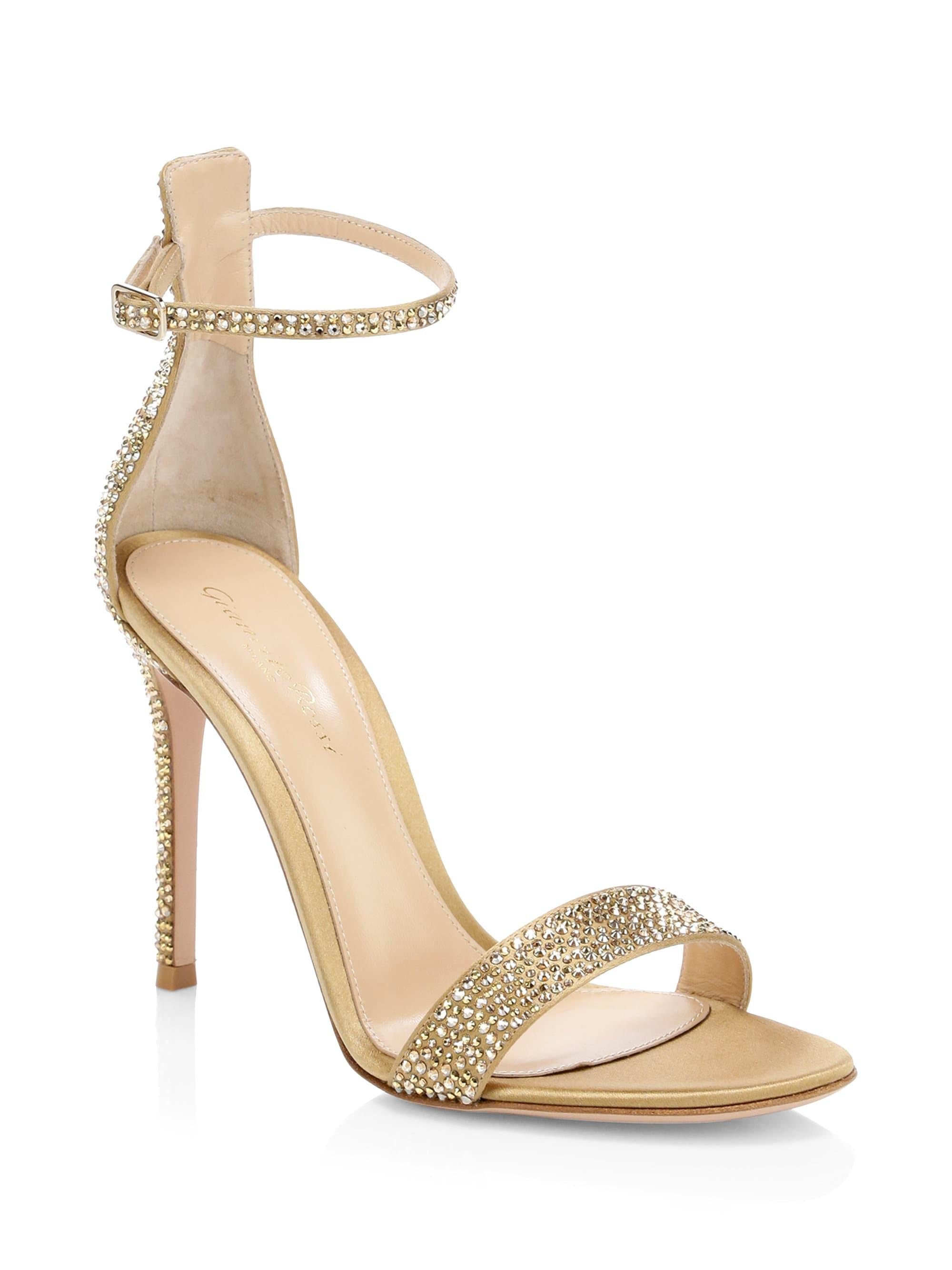 fc3792bef99 Lyst - Gianvito Rossi Silk Crystal Ankle-strap Sandals in Metallic