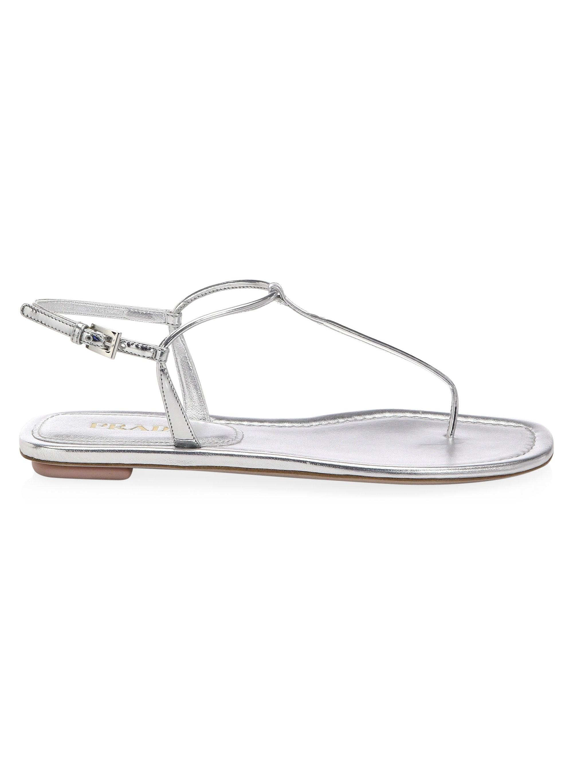 918a10ab400f9 Lyst - Prada Leather Thong Flat Sandals in White