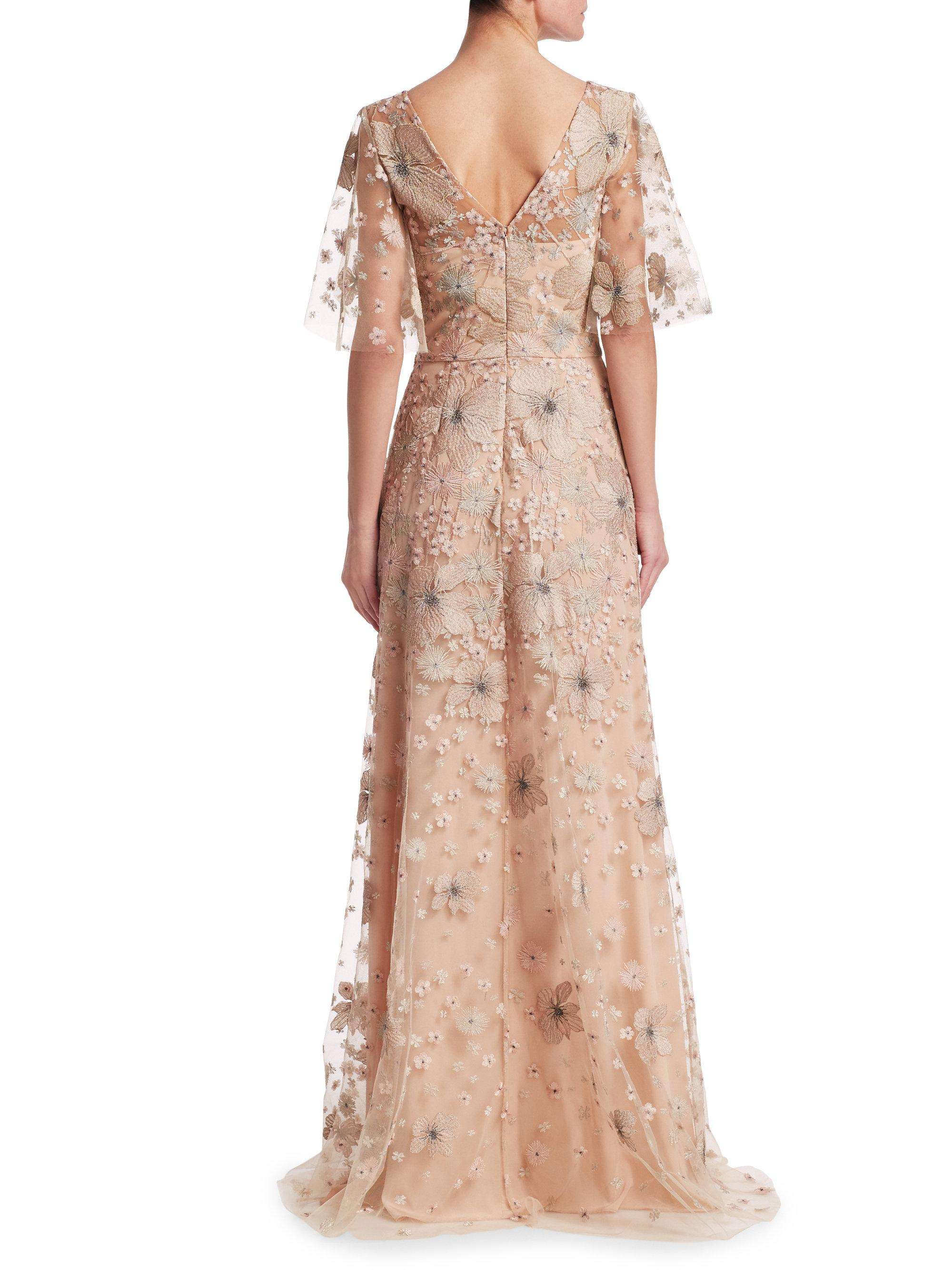 Lyst - David Meister Short Sleeve Floral Embellished Gown in Pink