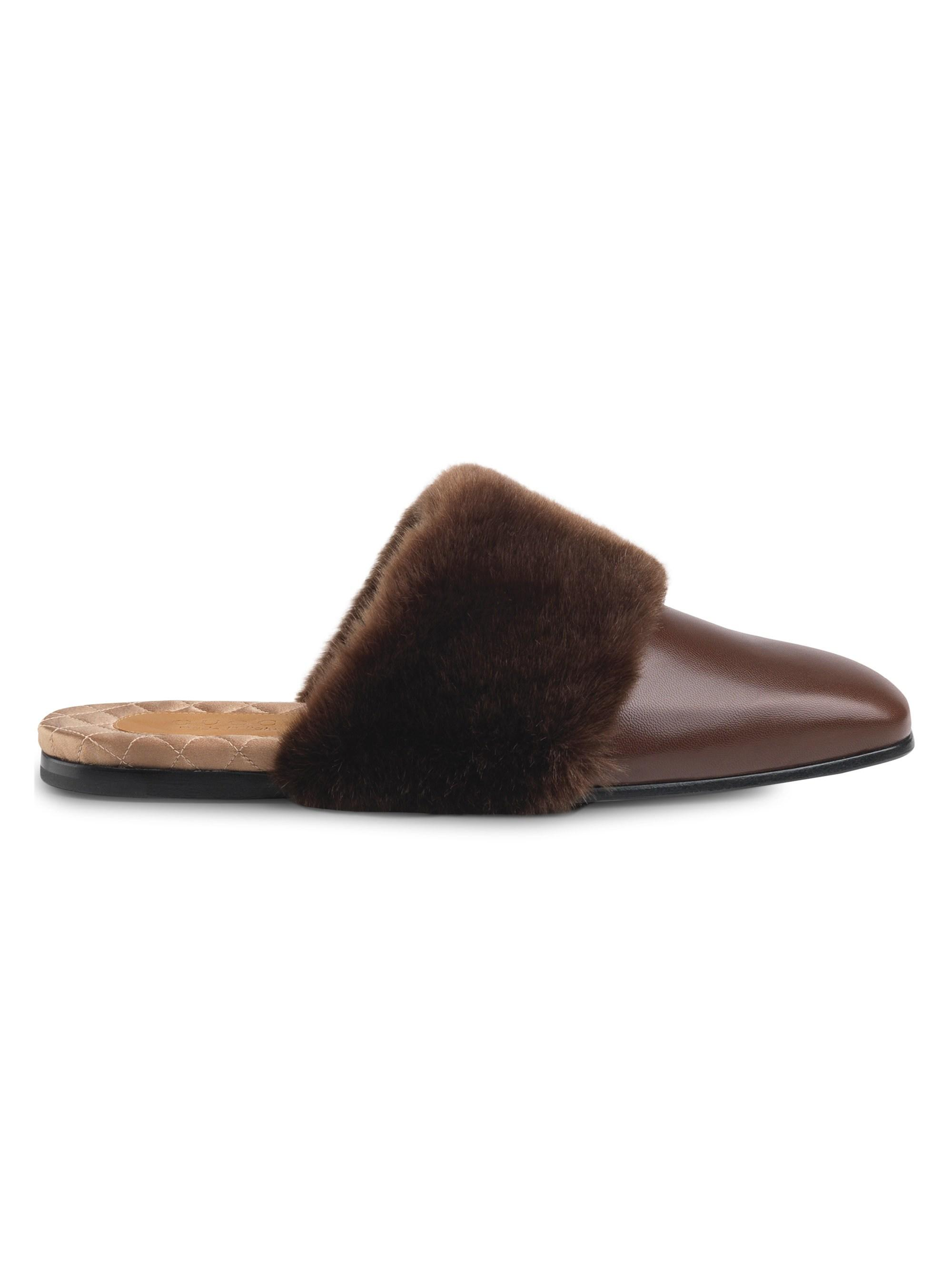 0c3202d4c Gucci Leather & Faux Fur Slipper in Brown for Men - Lyst