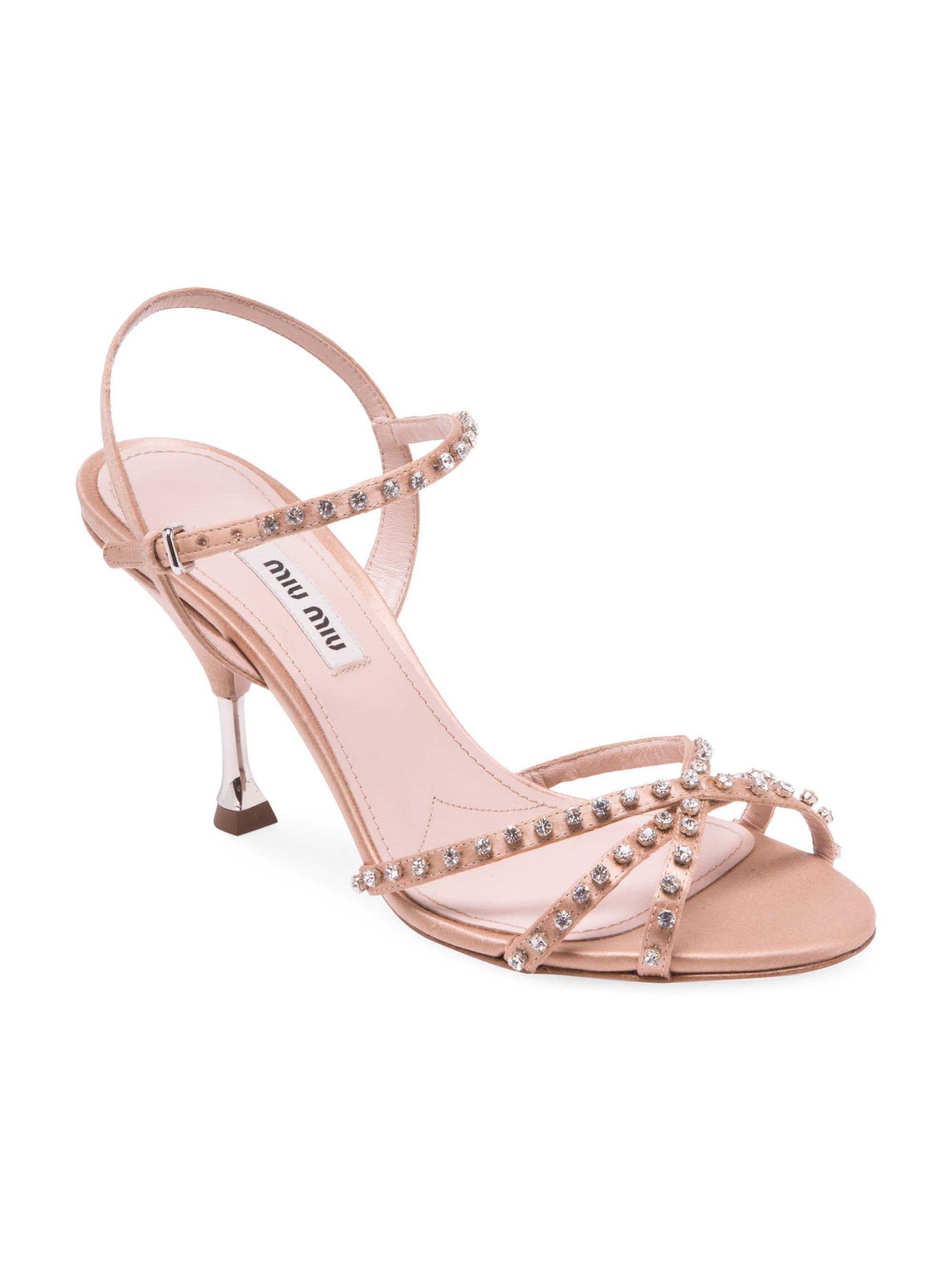 ddc309b57a1904 Miu Miu Stiletto Heel Jeweled Leather Sandals in Natural - Lyst