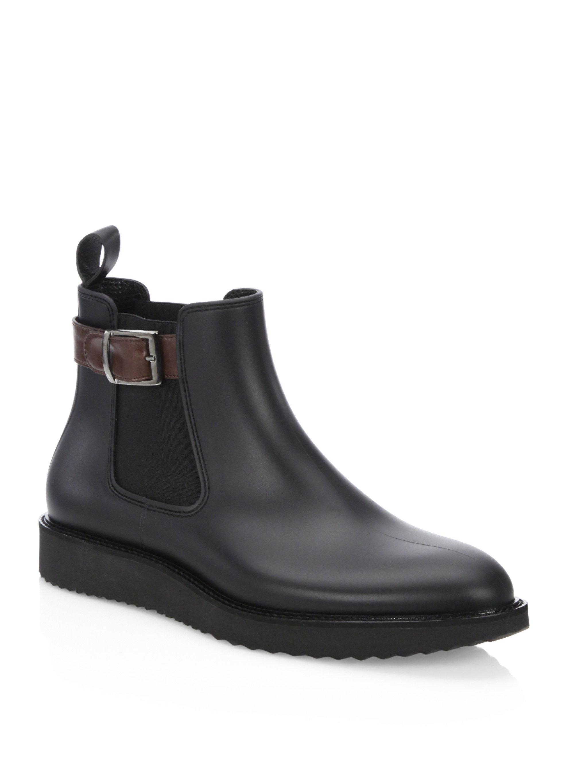 Saks Fifth Avenue COLLECTION Buckle Rubber Chelsea Boots Dci5UUHXN