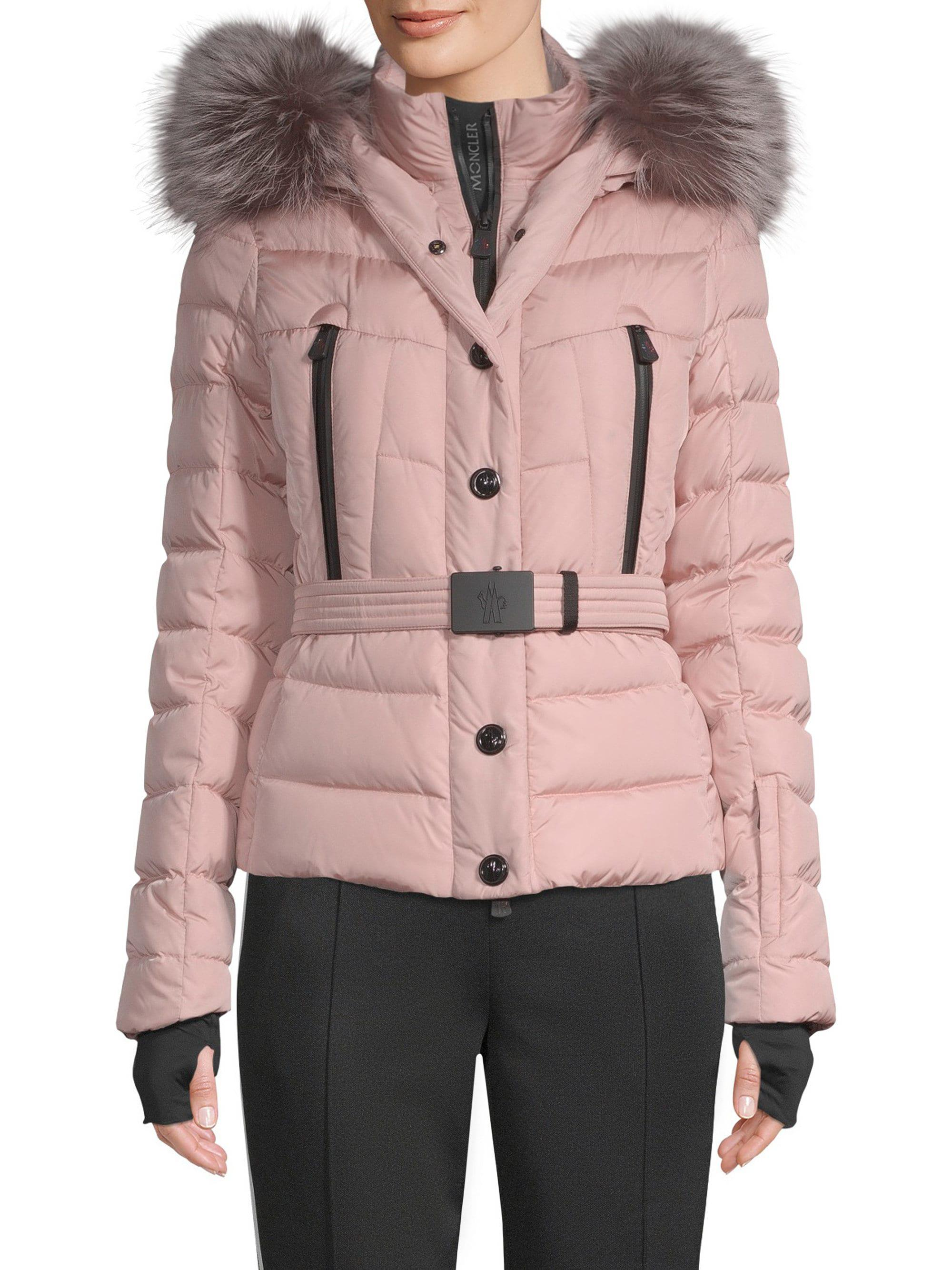31ac4e1714 Lyst - Moncler Beverley Fur Trim Hooded Puffer Jacket in Pink