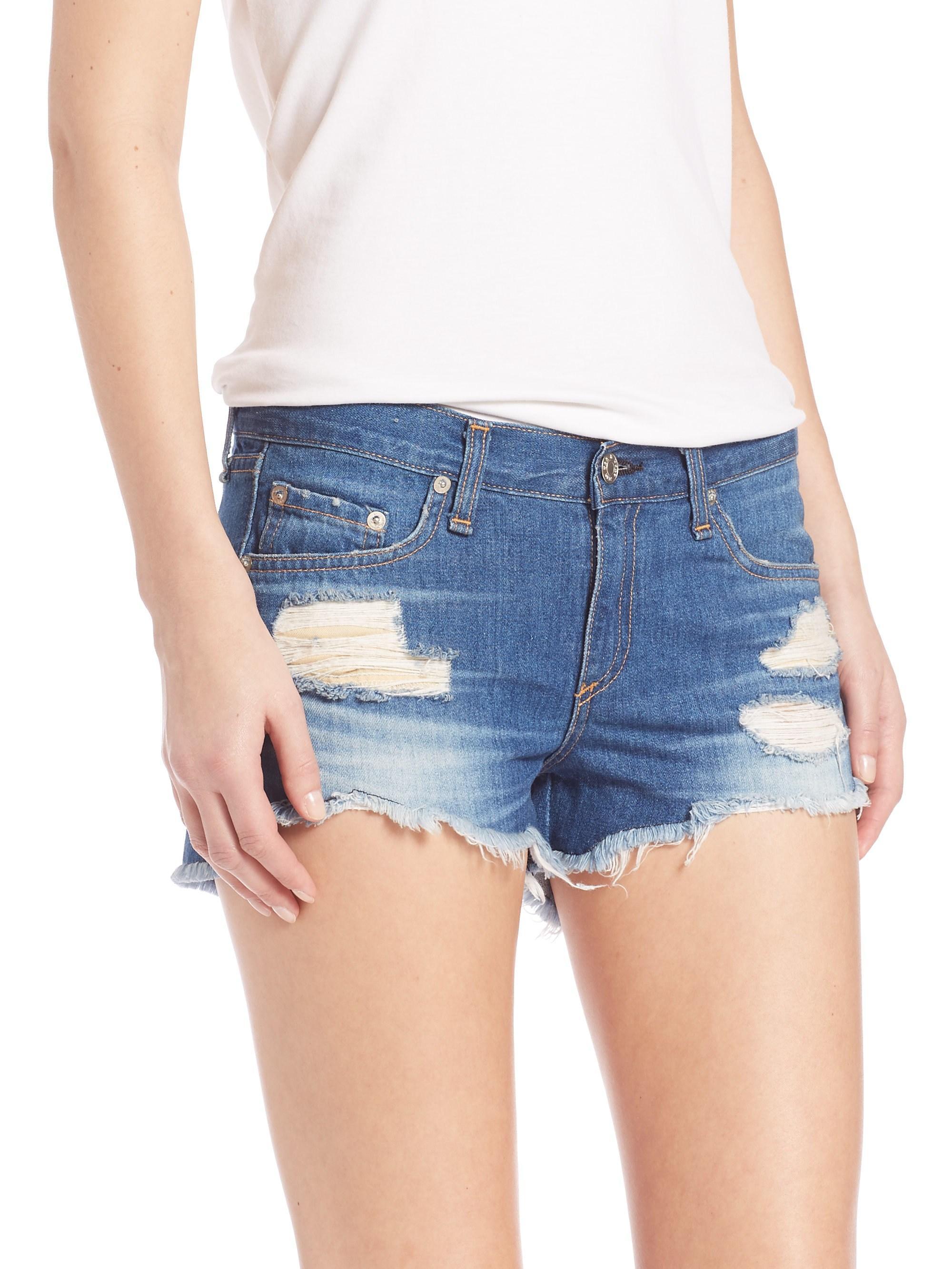 e7dfb2624c0 Lyst - Rag   Bone Cut-off Distressed Denim Shorts freeport in Blue