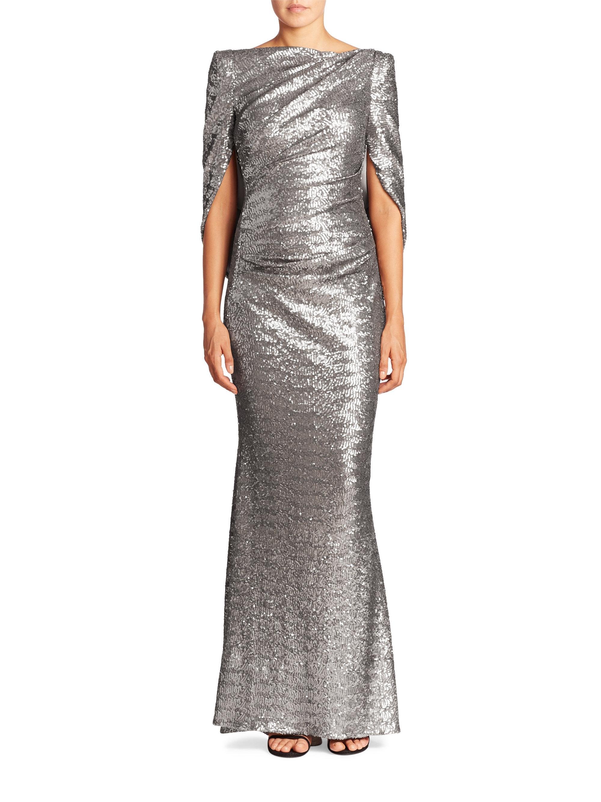 Lyst - Talbot Runhof Sequin Cape Gown in Metallic