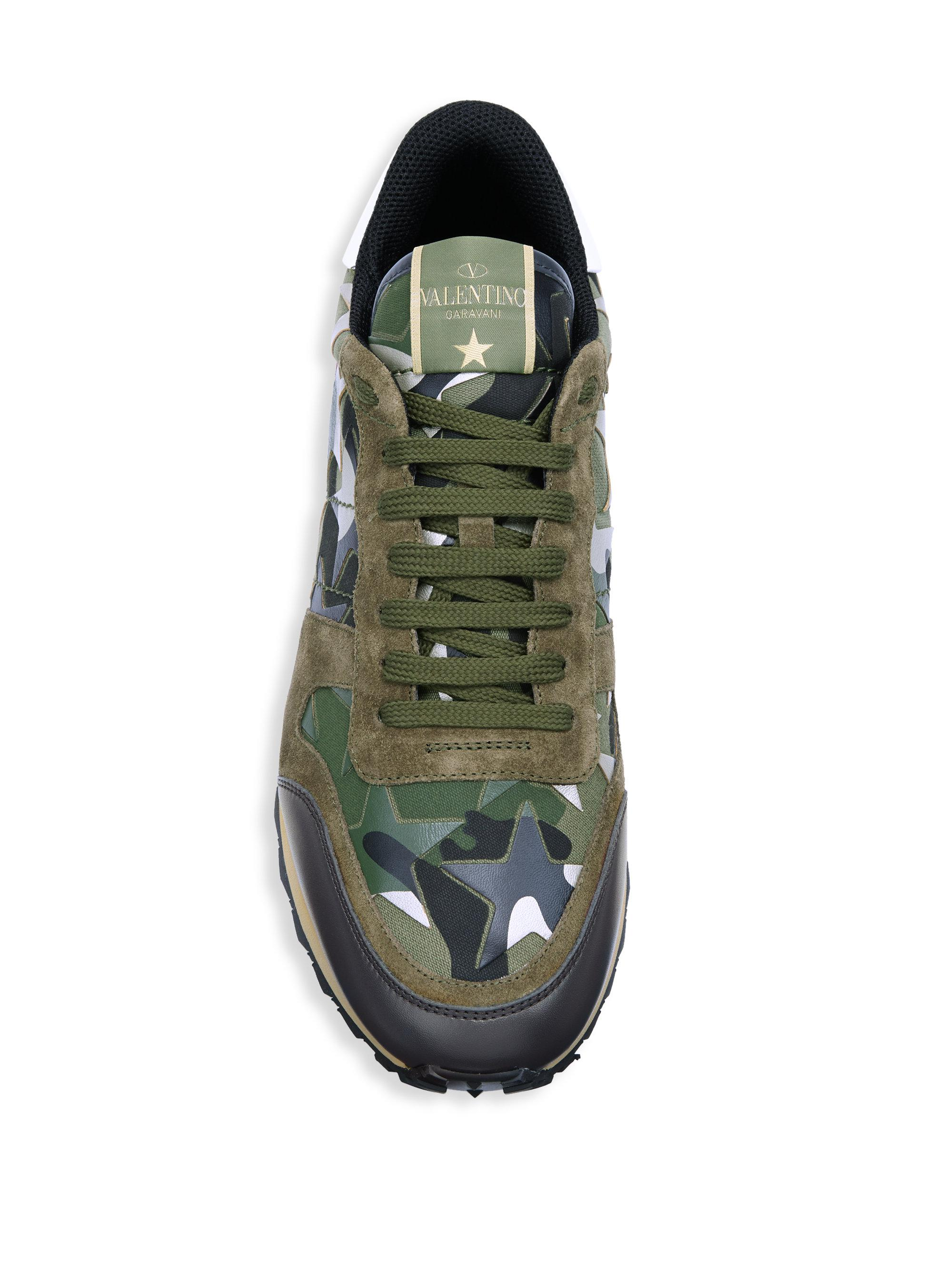 68a46f59c1e48b Lyst - Valentino Star Rock Camouflage Running Shoes in Green for Men