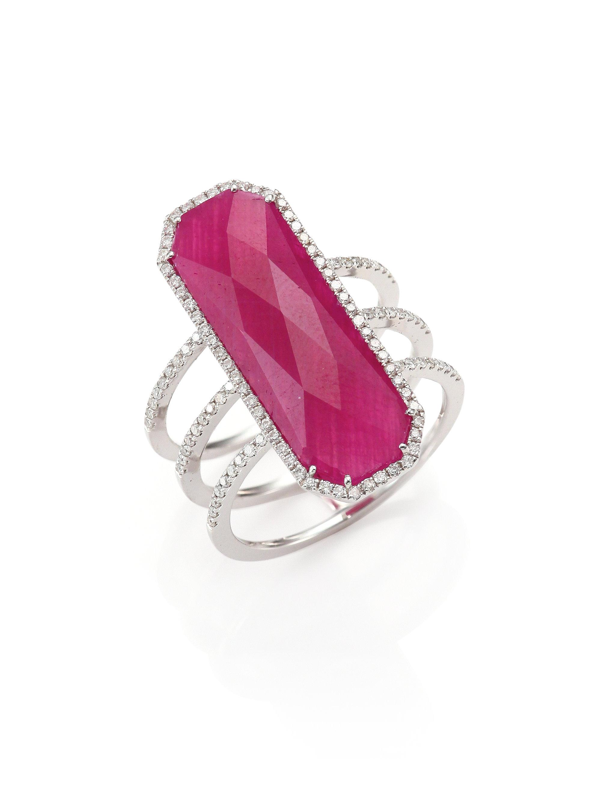 Lyst - Meira T Ruby, Pavé Diamond, 14k White Gold & Silver Ring in Pink