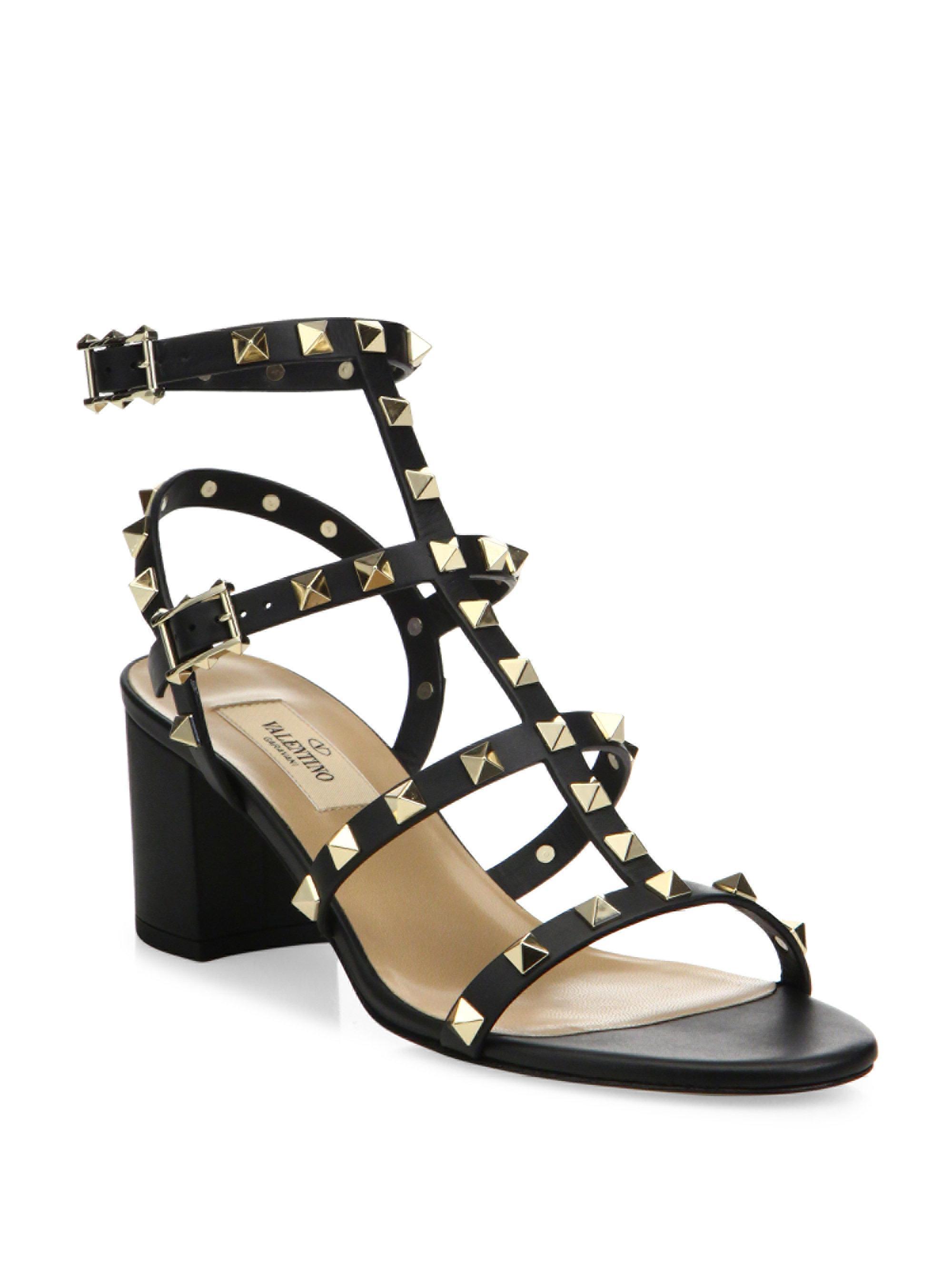 fd2f3c5dd77 Lyst - Valentino Rockstud Leather Block Heel Sandals in Black