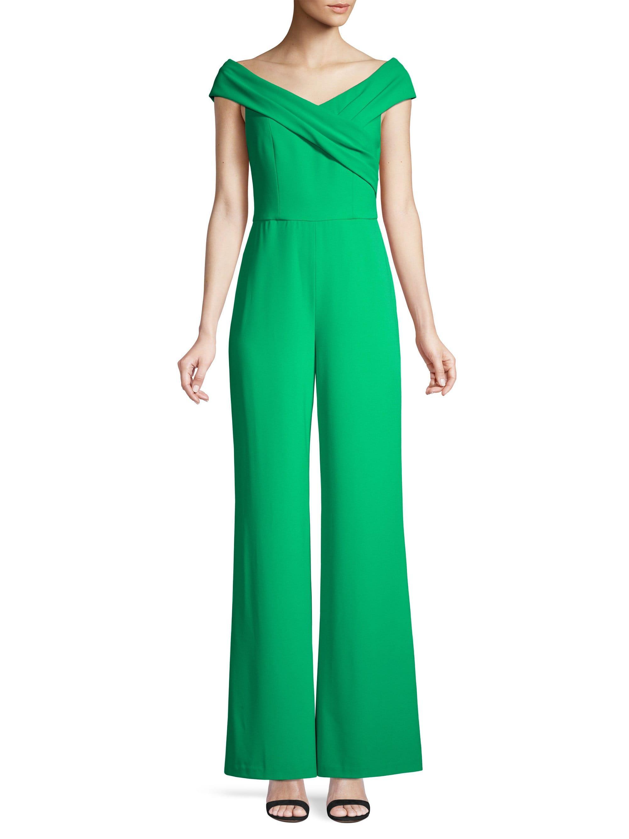 1cfcc3c1b84 Alice + Olivia - Green Kaye Wrap Shoulder Jumpsuit - Lyst. View fullscreen