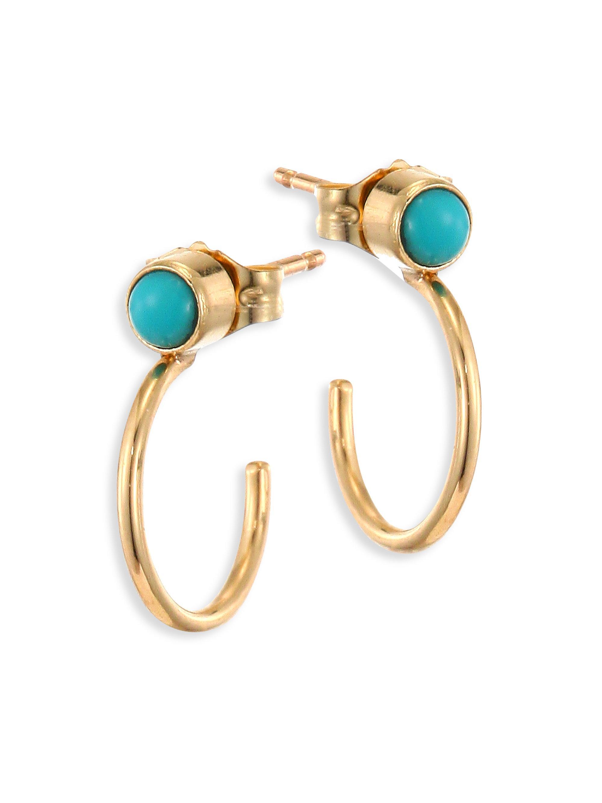 Zoe Chicco Women S Metallic Turquoise 14k Yellow Gold Thin Huggie Hoop Earrings