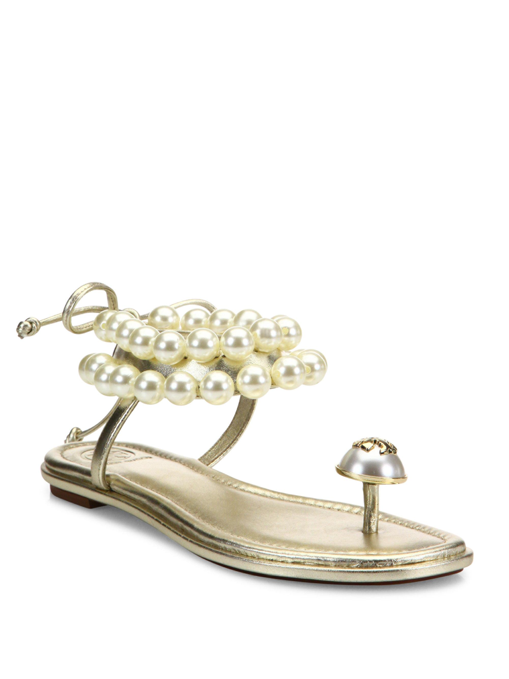 e8eb1fce69f4 Lyst - Tory Burch Melody Beaded Leather Ankle Tie Sandals in Metallic
