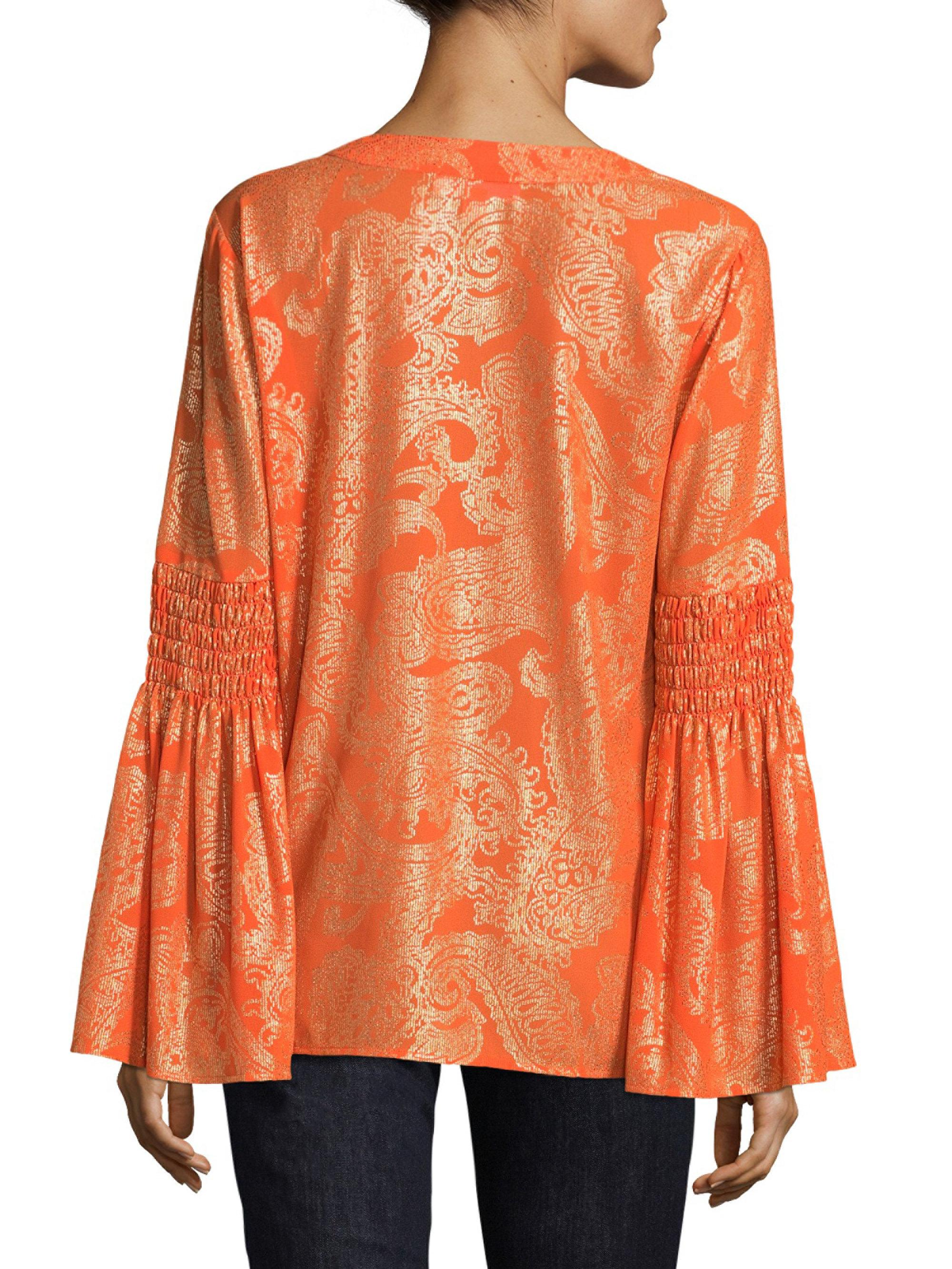 bf66e86a477 Lyst - MICHAEL Michael Kors Samara Bell Sleeves Blouse in Orange
