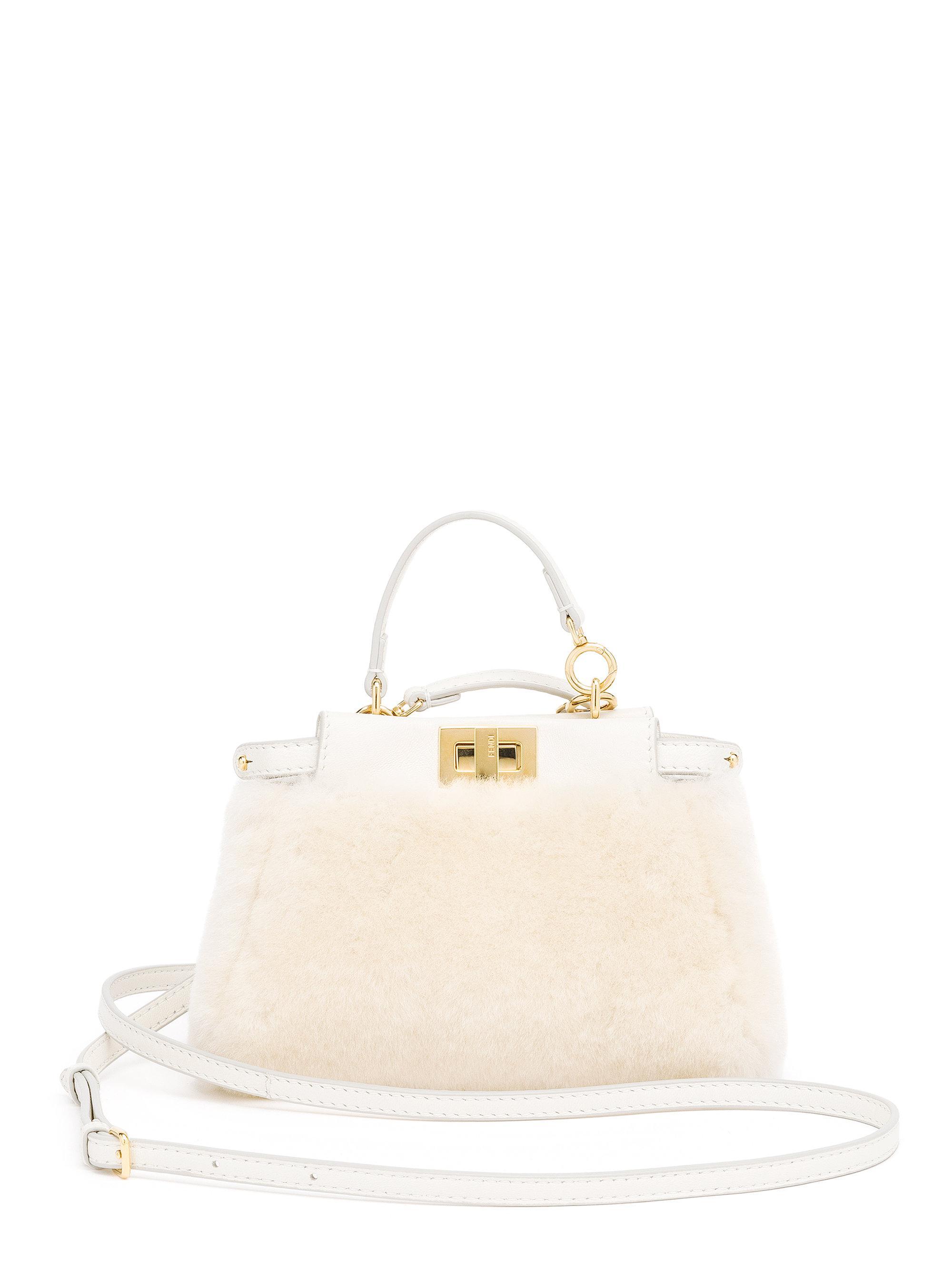 464c371cae Fendi Peekaboo Mini Sheep Fur Satchel in White - Lyst
