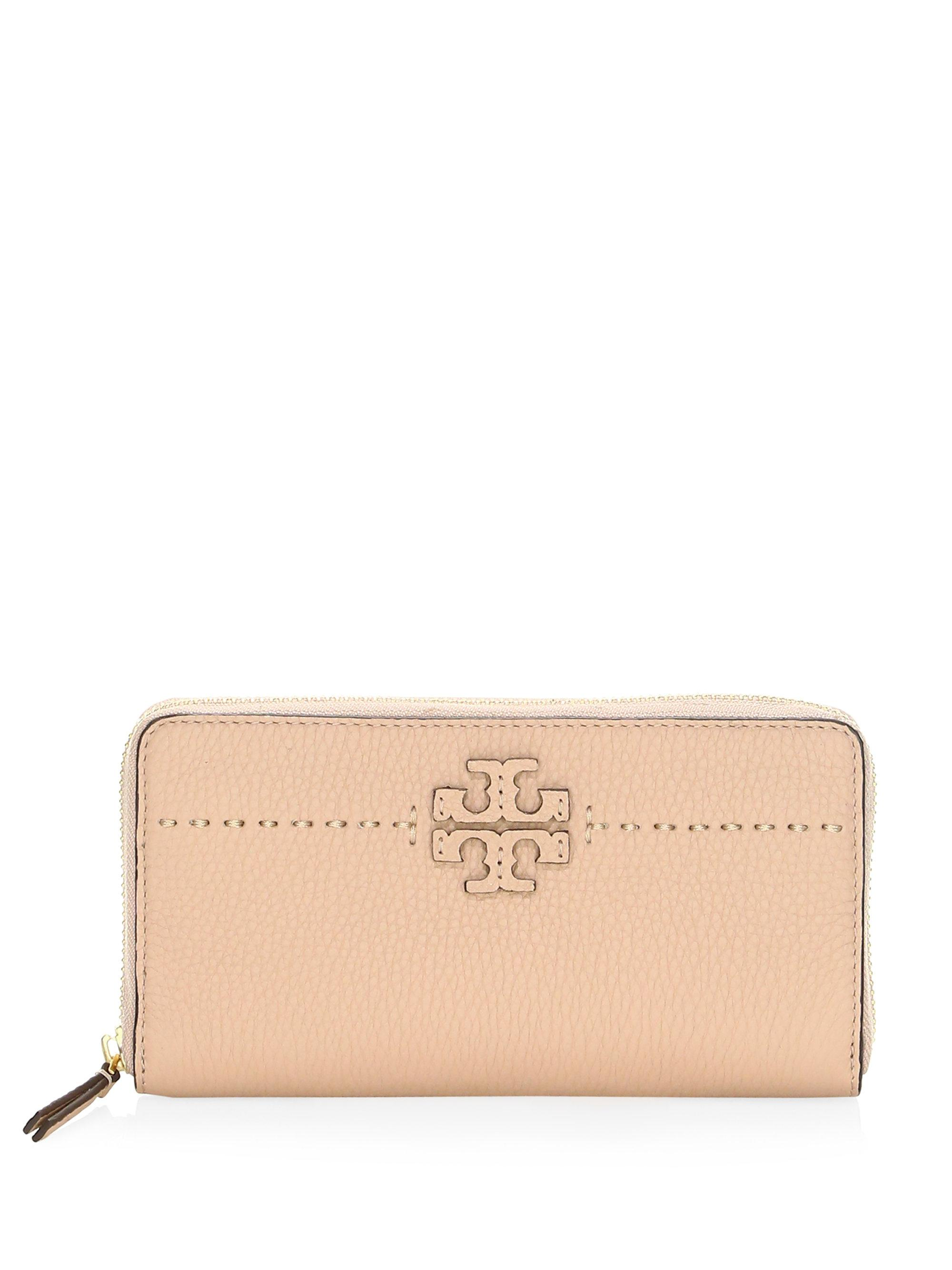 Tory Burch. Women's Natural Mcgraw Zip Leather Continental Wallet