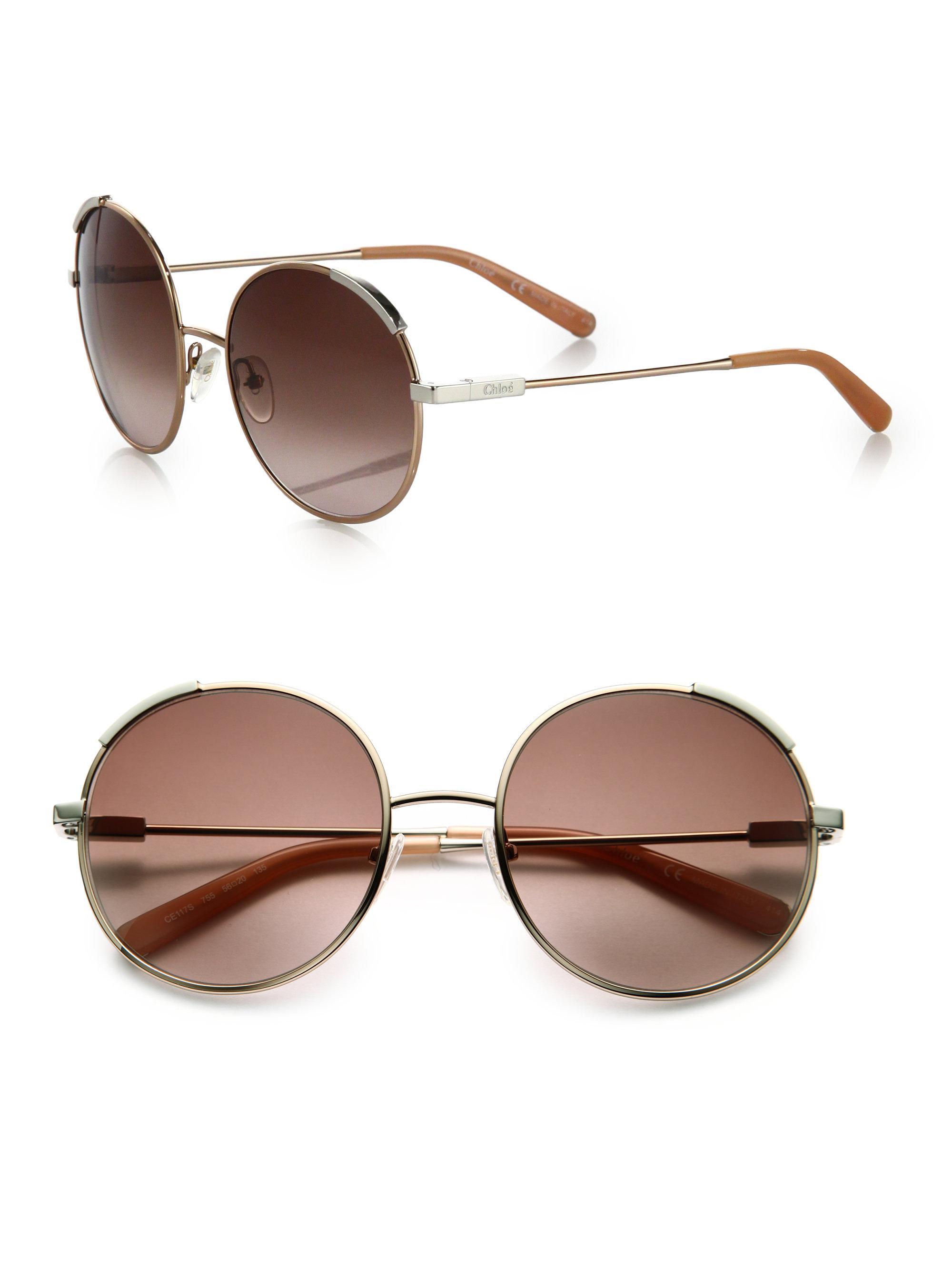 d153e46dccdb Lyst - Chloé Eria 56mm Round Sunglasses in Metallic