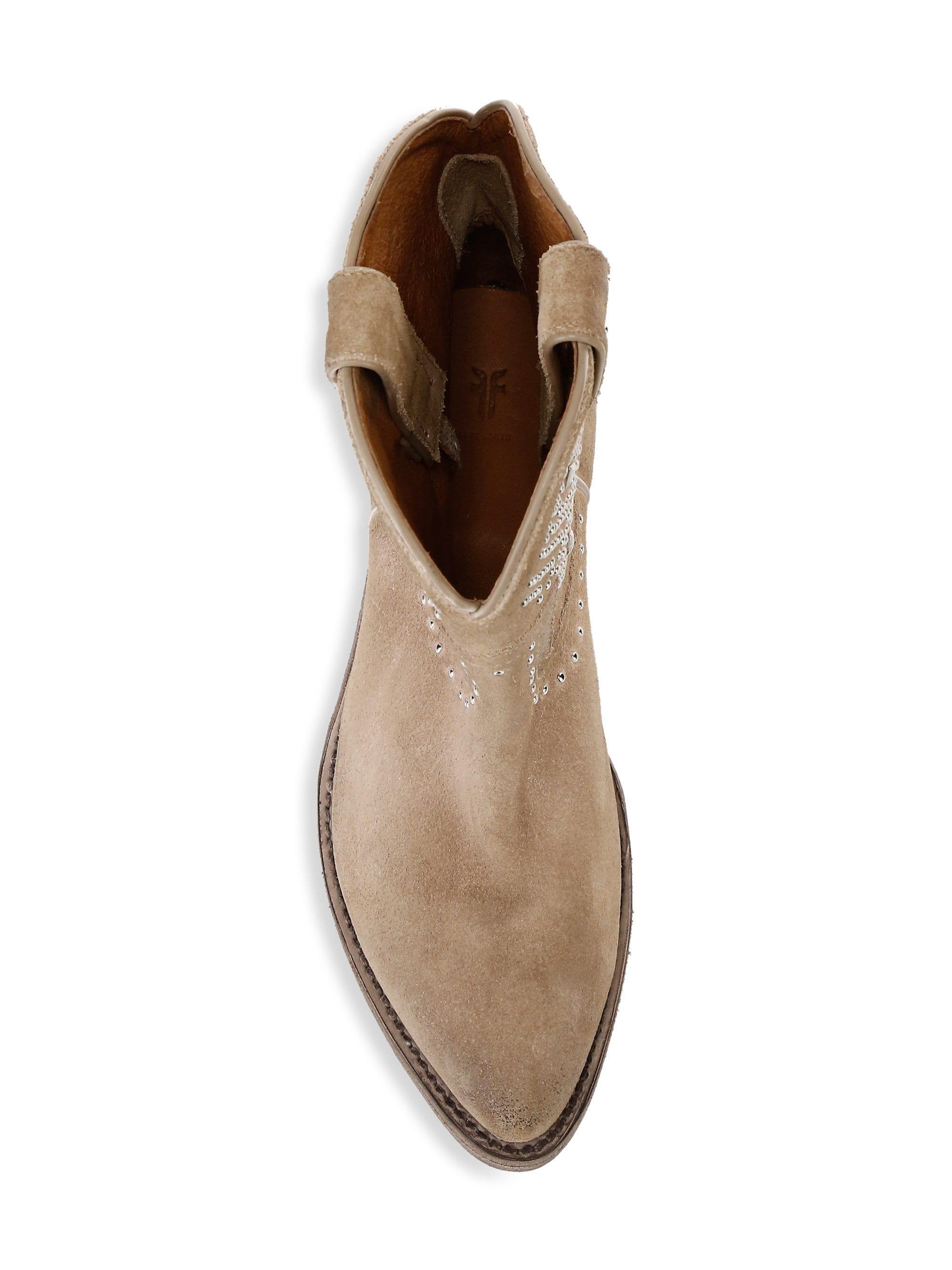 5cf77e310a8 Lyst - Frye Women's Billy Studded Suede Short Cowboy Boots - Tan ...