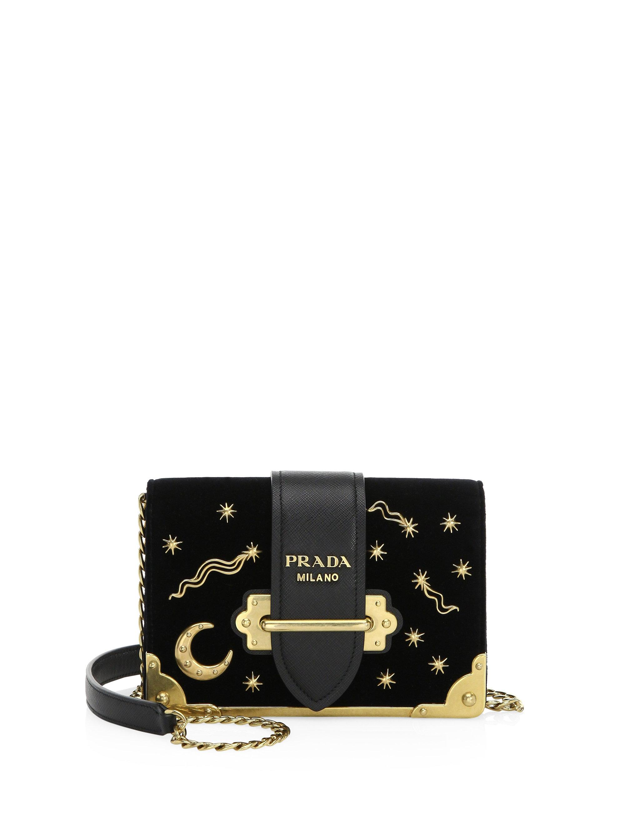 ce1b18ed8351 ... netherlands lyst prada cahier moon stars velvet crossbody bag in black  aa037 2f572