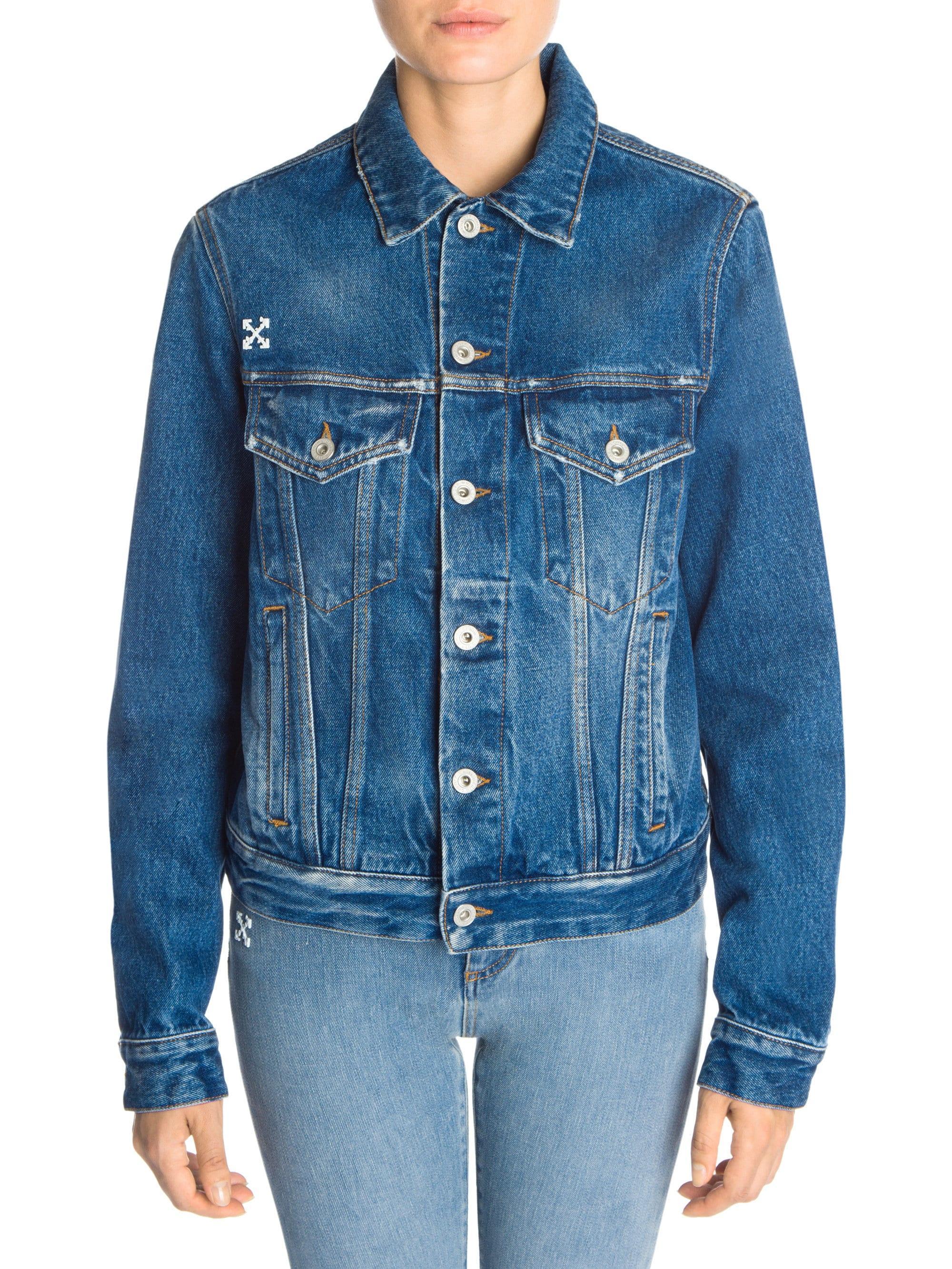 46d254081 Lyst - Off-White c/o Virgil Abloh Women's Denim Jacket - Blue Wash ...