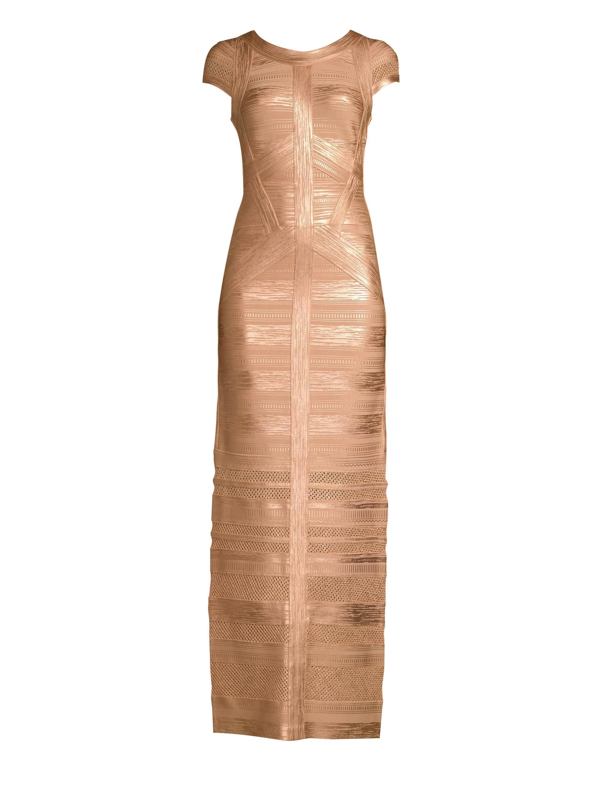 c5fd01434b8f Lyst - Hervé Léger Cap Sleeve Foil & Knit Column Gown in Metallic