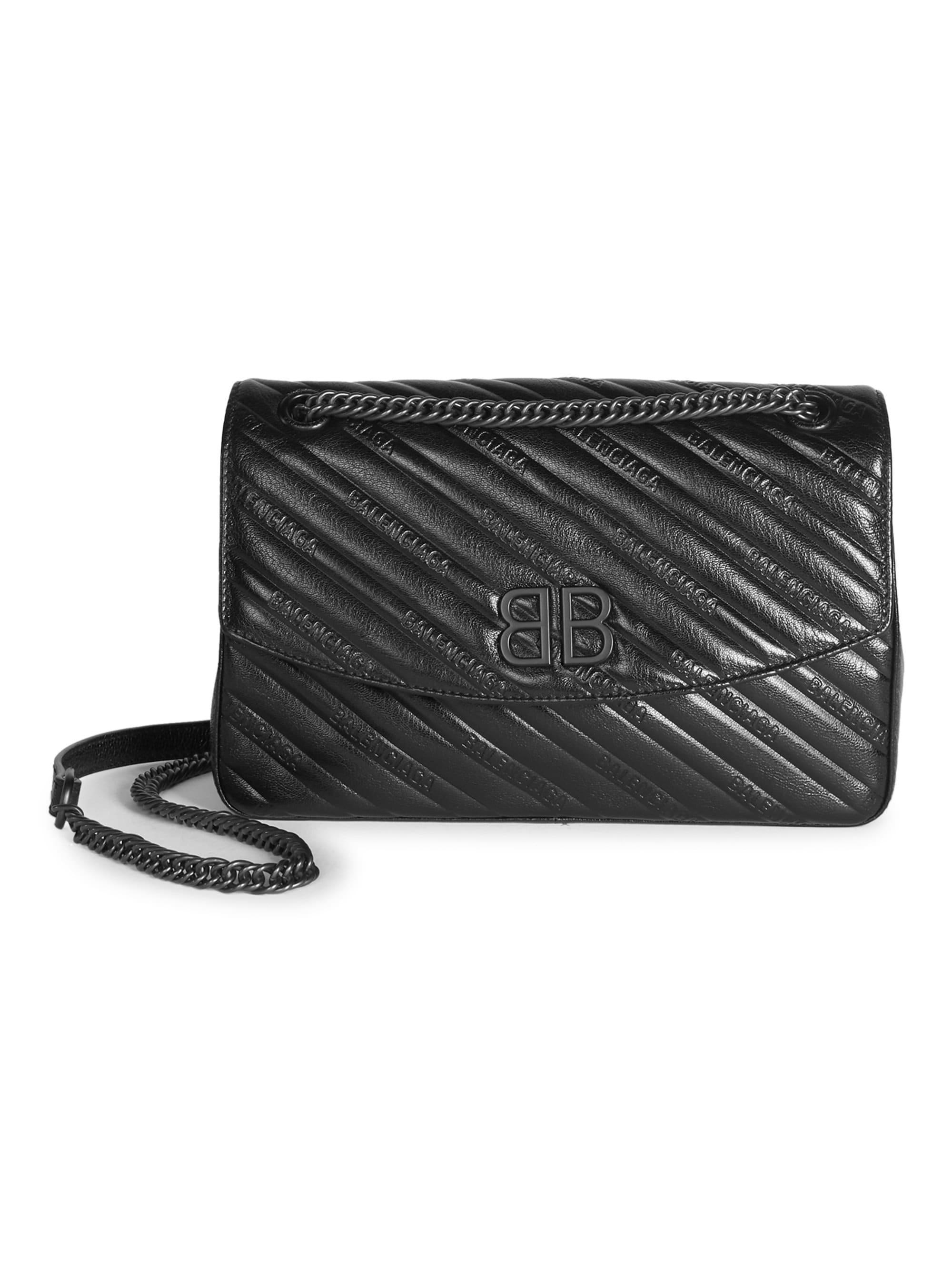 c28a8917131b Balenciaga - Women's Quilted Leather Logo Crossbody - Black - Lyst. View  fullscreen