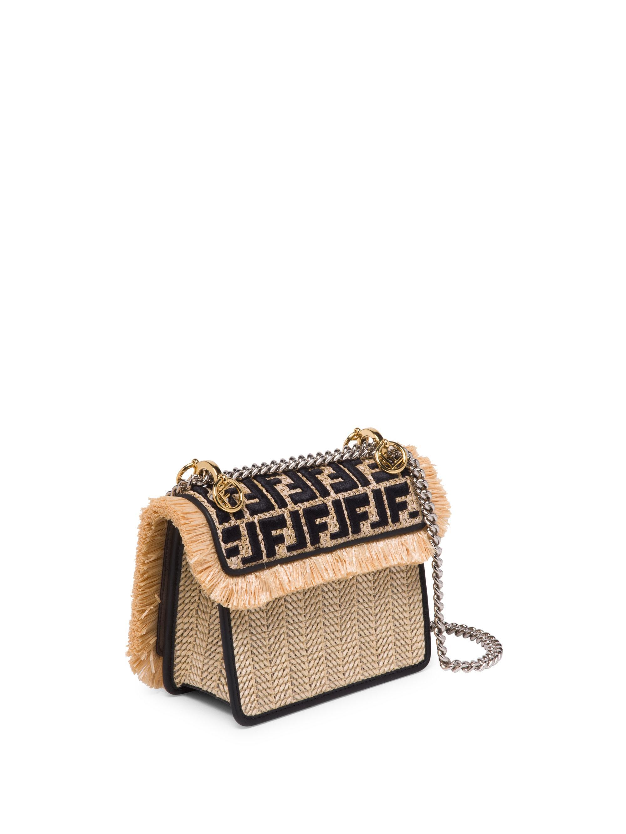 991f3b334f Fendi Small Kan I Chain Strap Raffia Bag in Black - Lyst