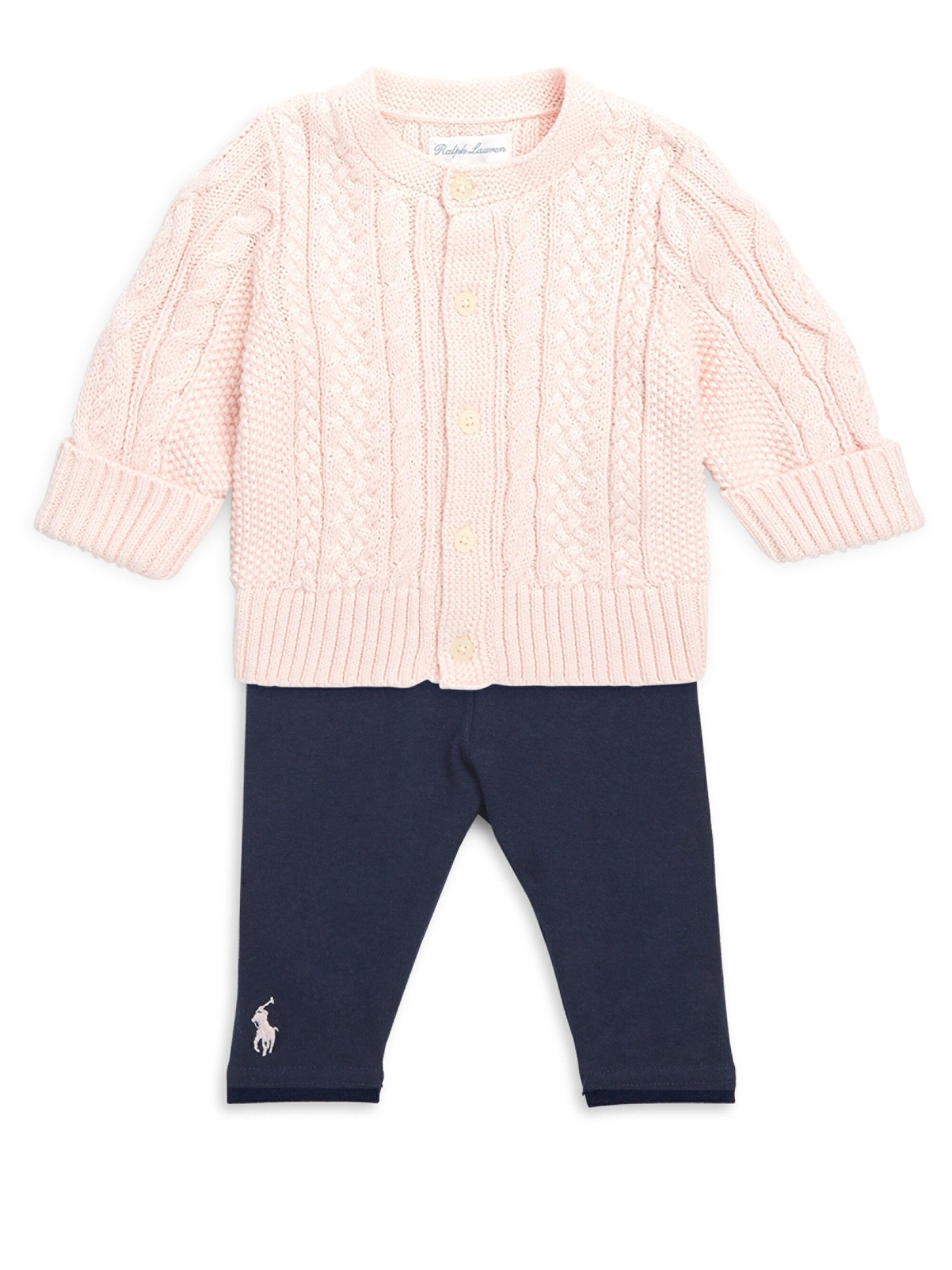 b9384b80a1 Ralph Lauren Baby Girl's Aran-knit Cardigan - Pink in Pink - Lyst