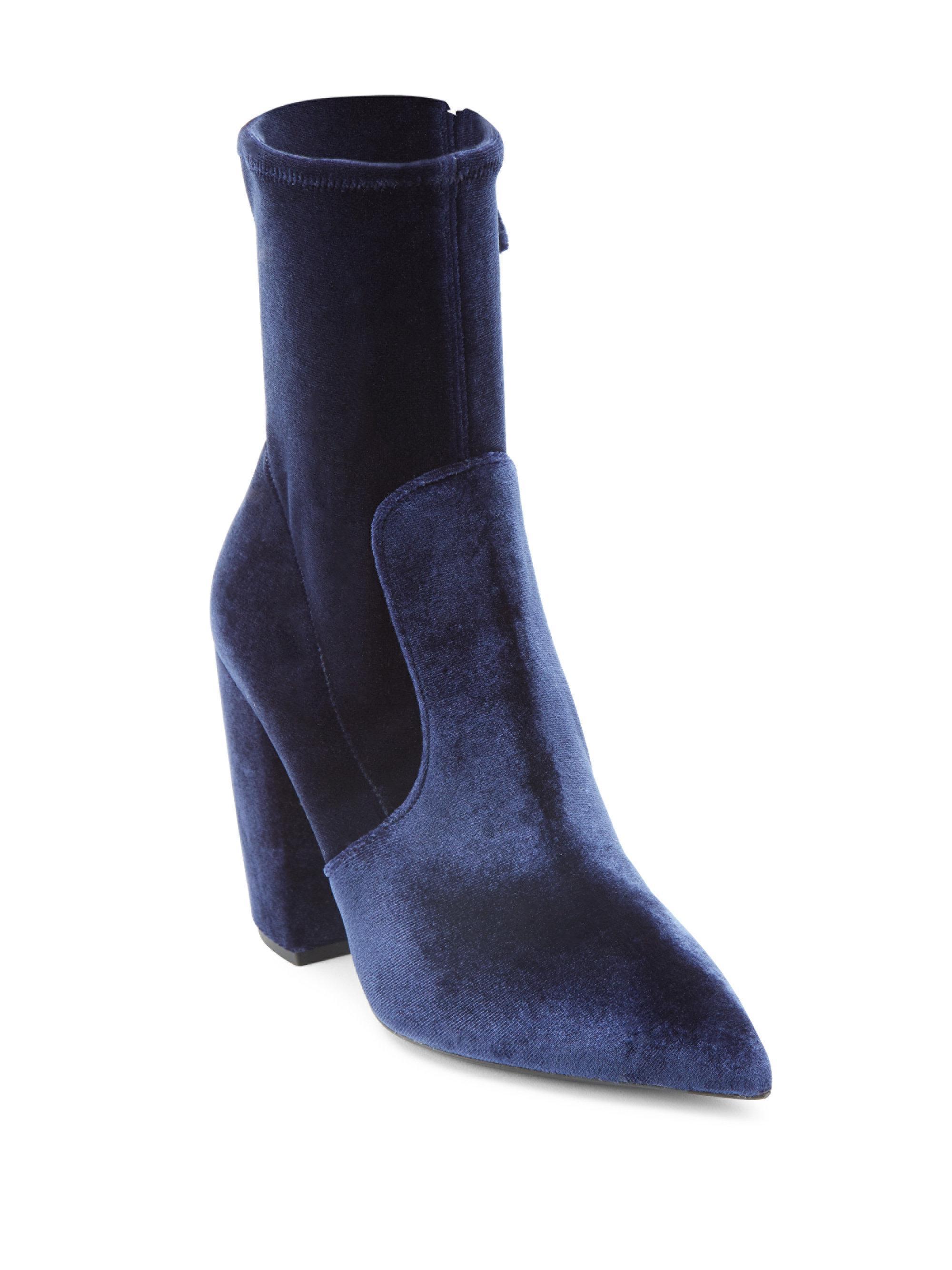9a107b023562 Lyst - Prada Banana Heel Stretch Velvet Point Toe Booties in Blue