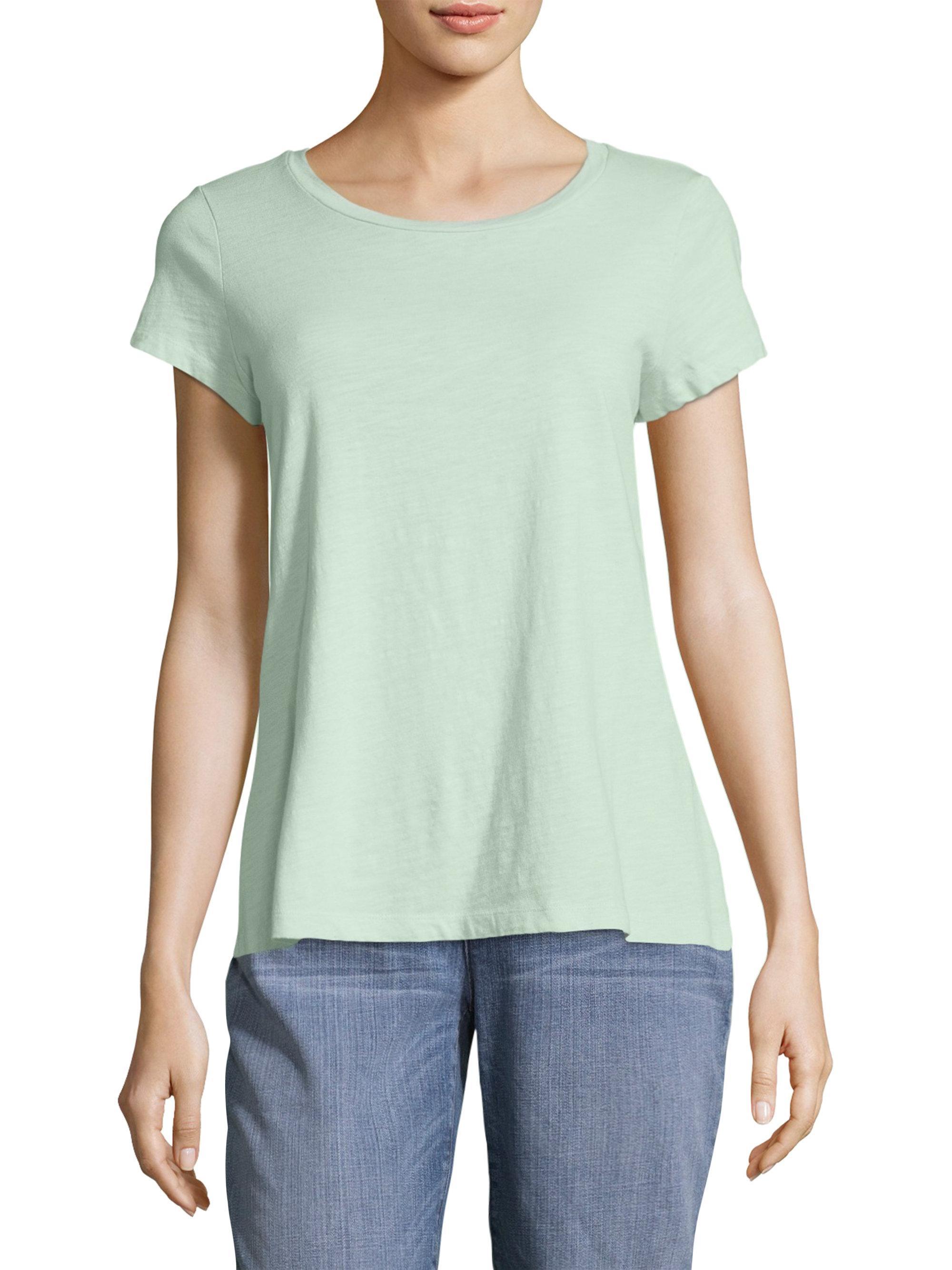 Eileen fisher slubby organic cotton tee in green lyst for Eileen fisher organic cotton t shirt