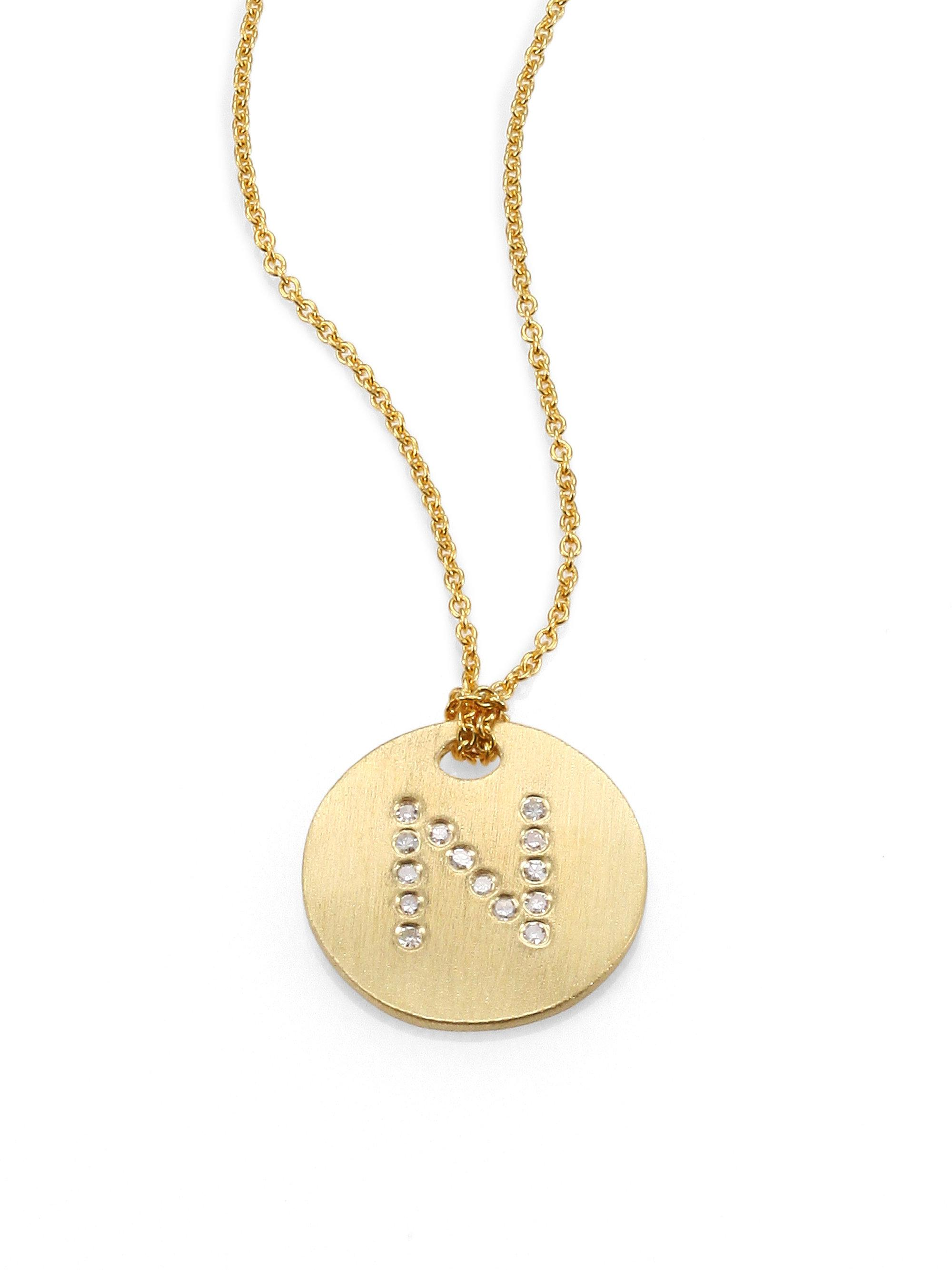 Lyst roberto coin tiny treasures diamond 18k yellow gold initial roberto coin womens metallic tiny treasures diamond 18k yellow gold initial pendant necklace mozeypictures Image collections