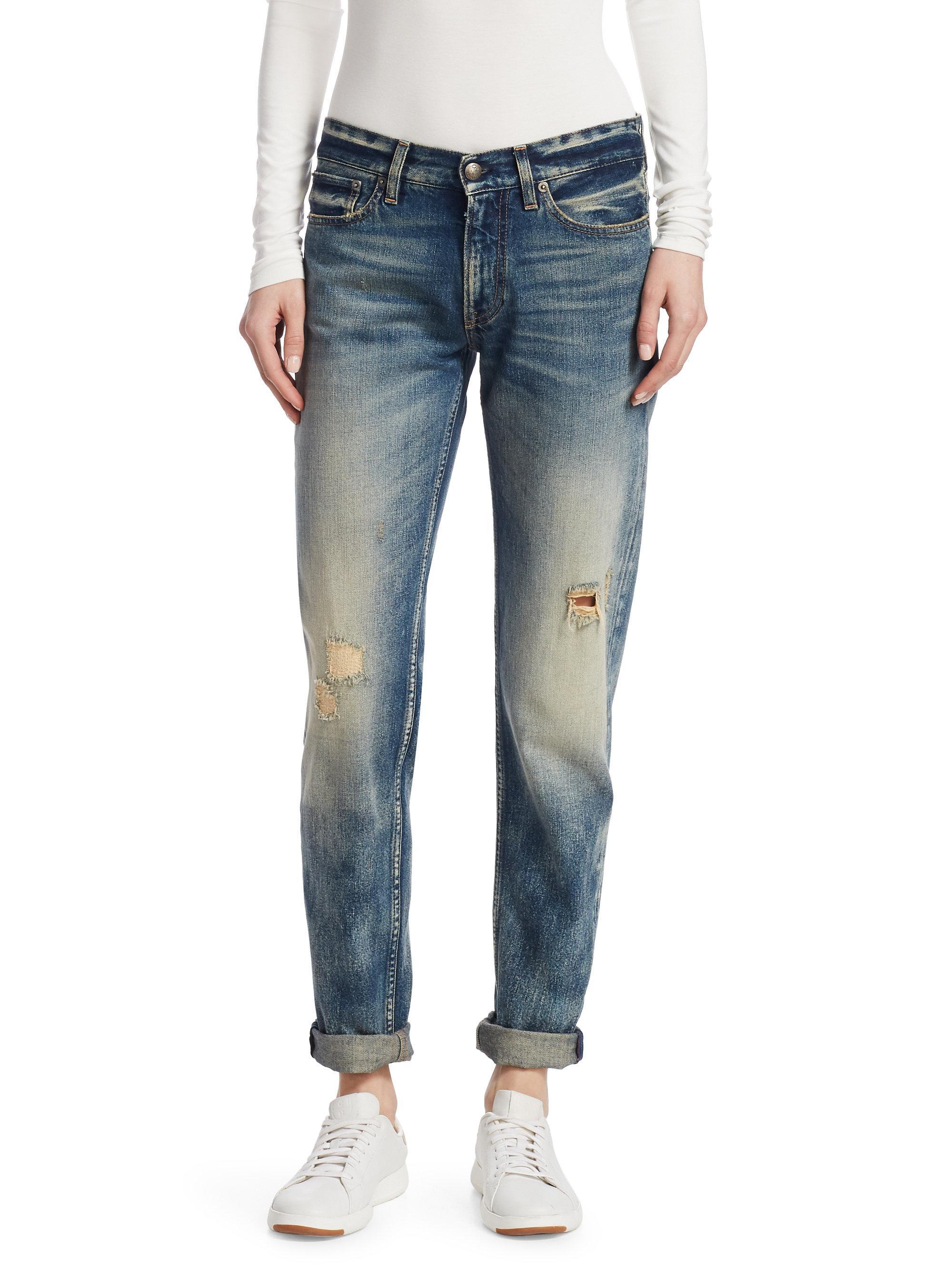Ralph Lauren Collection. Women's Blue Iconic Style 320 Distressed Boyfriend  Jeans