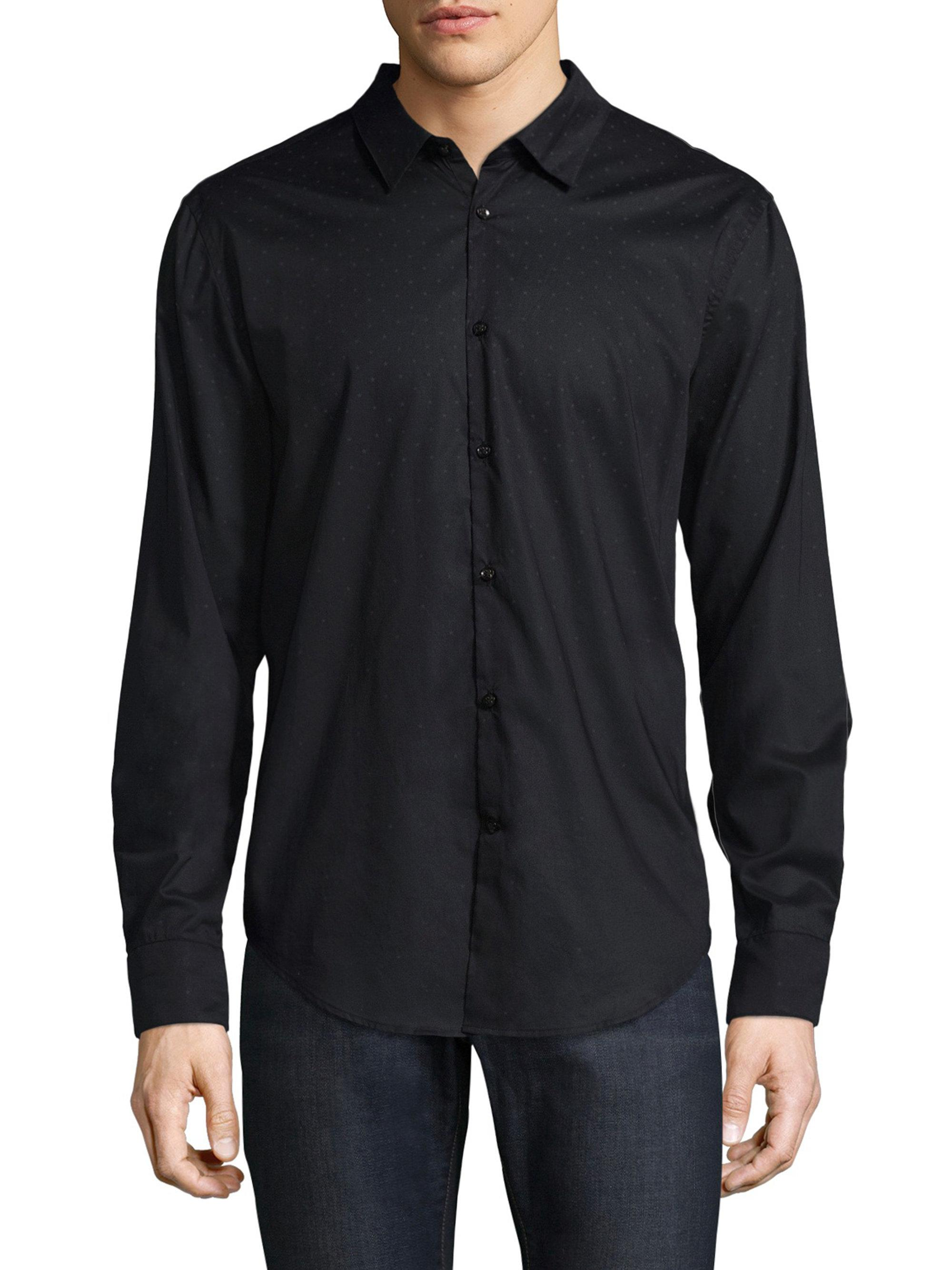 Lyst john varvatos cotton polka dot button down shirt in for Button down polka dot shirt