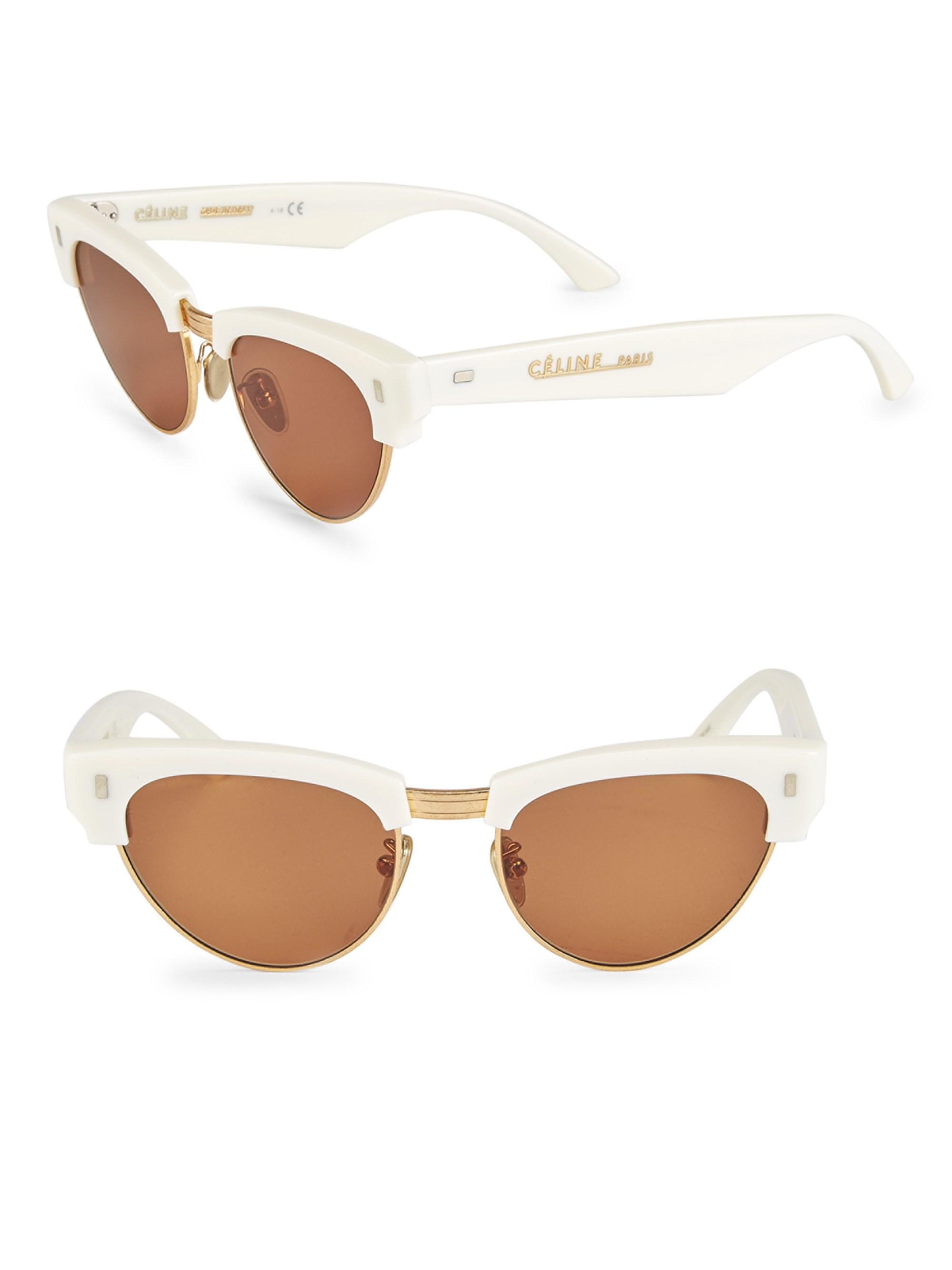 edfd5289e674e Céline. White Women s Iconic Cat-eye Sunglasses - Shiny Ivory.  790 From Saks  Fifth Avenue