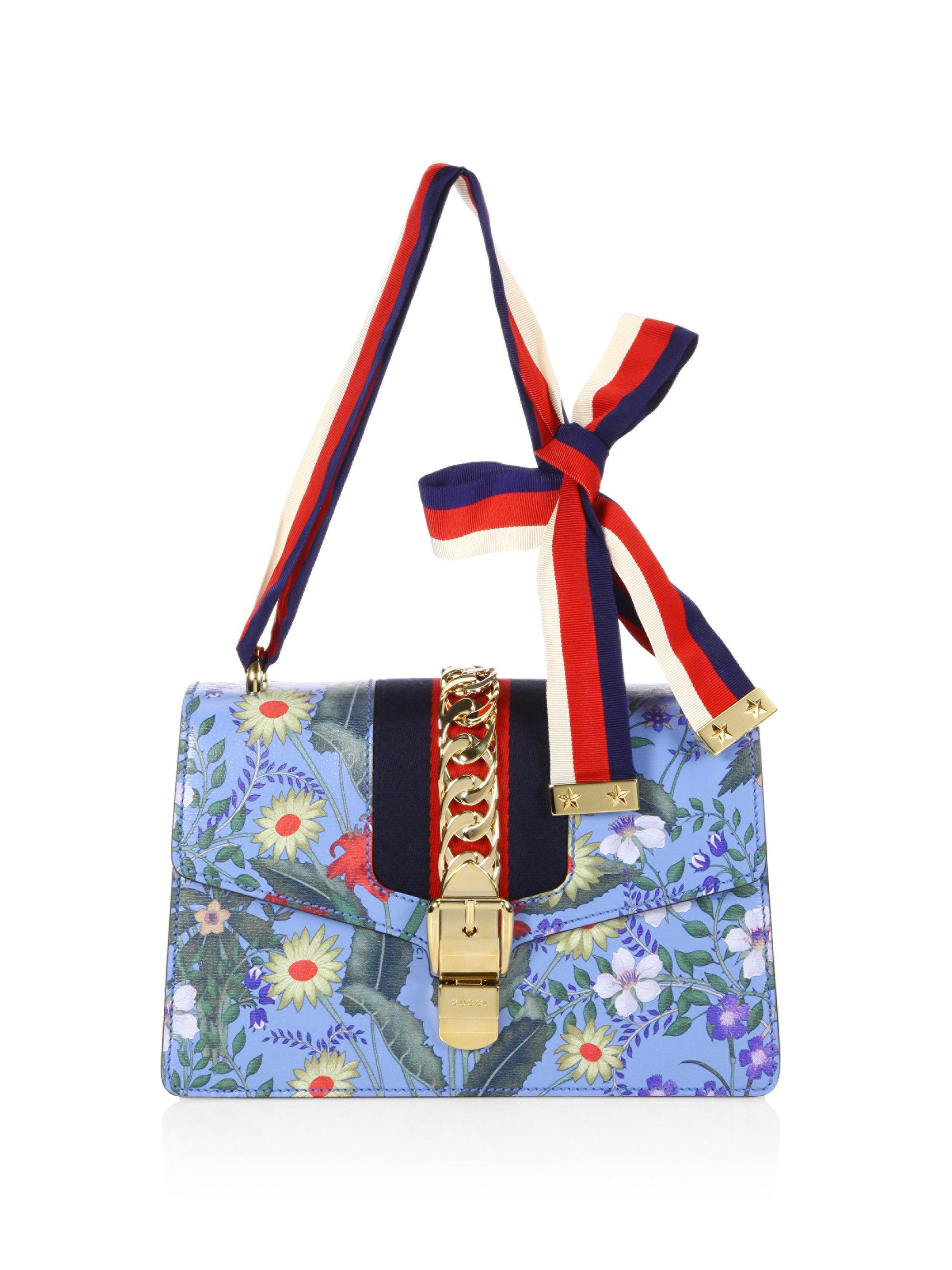 e40a3ba7e96 Lyst - Gucci Sylvie Flora Leather Shoulder Bag in Blue