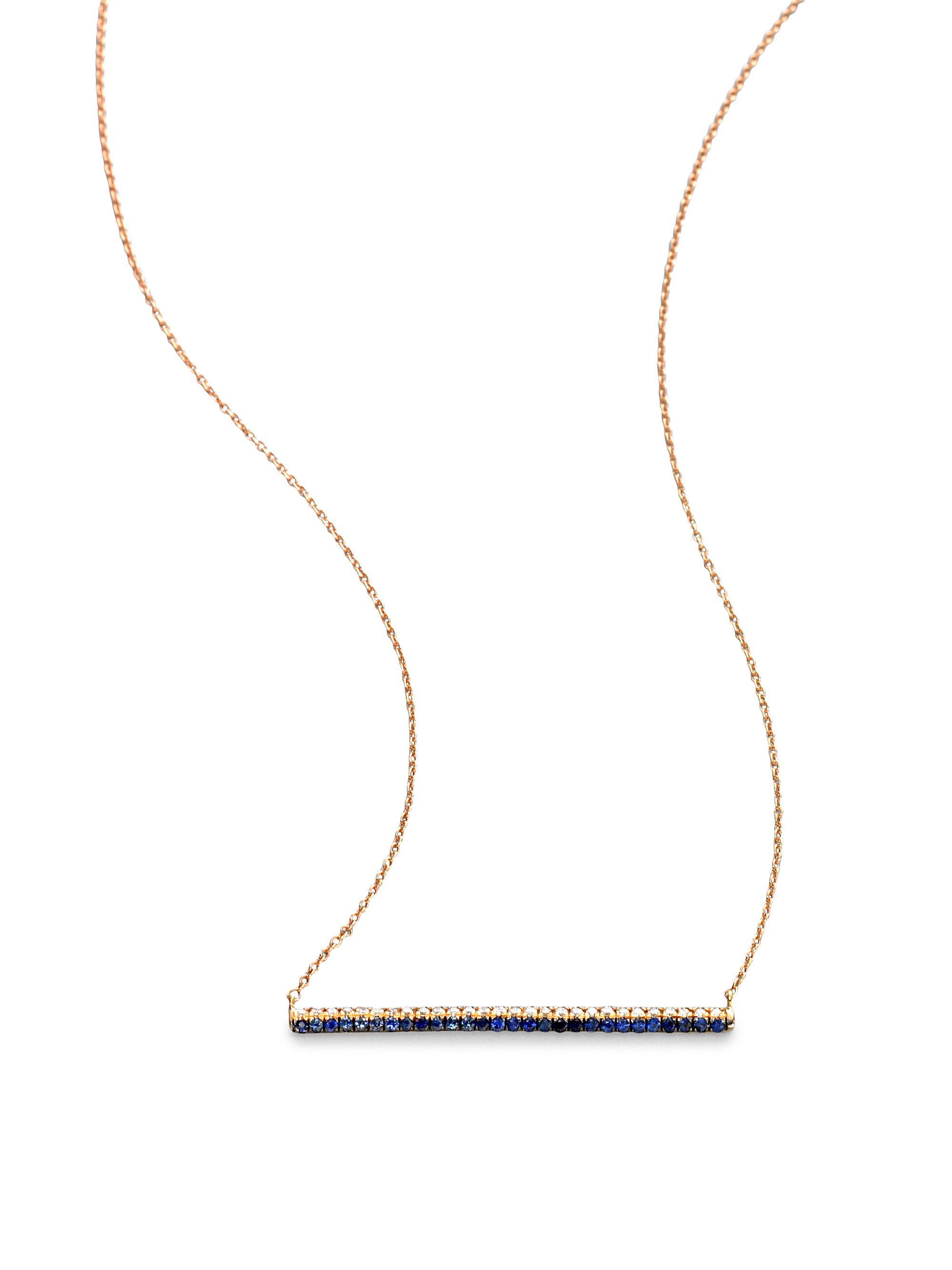 Diamond, sapphire & rose-gold Bolo necklace Diane Kordas