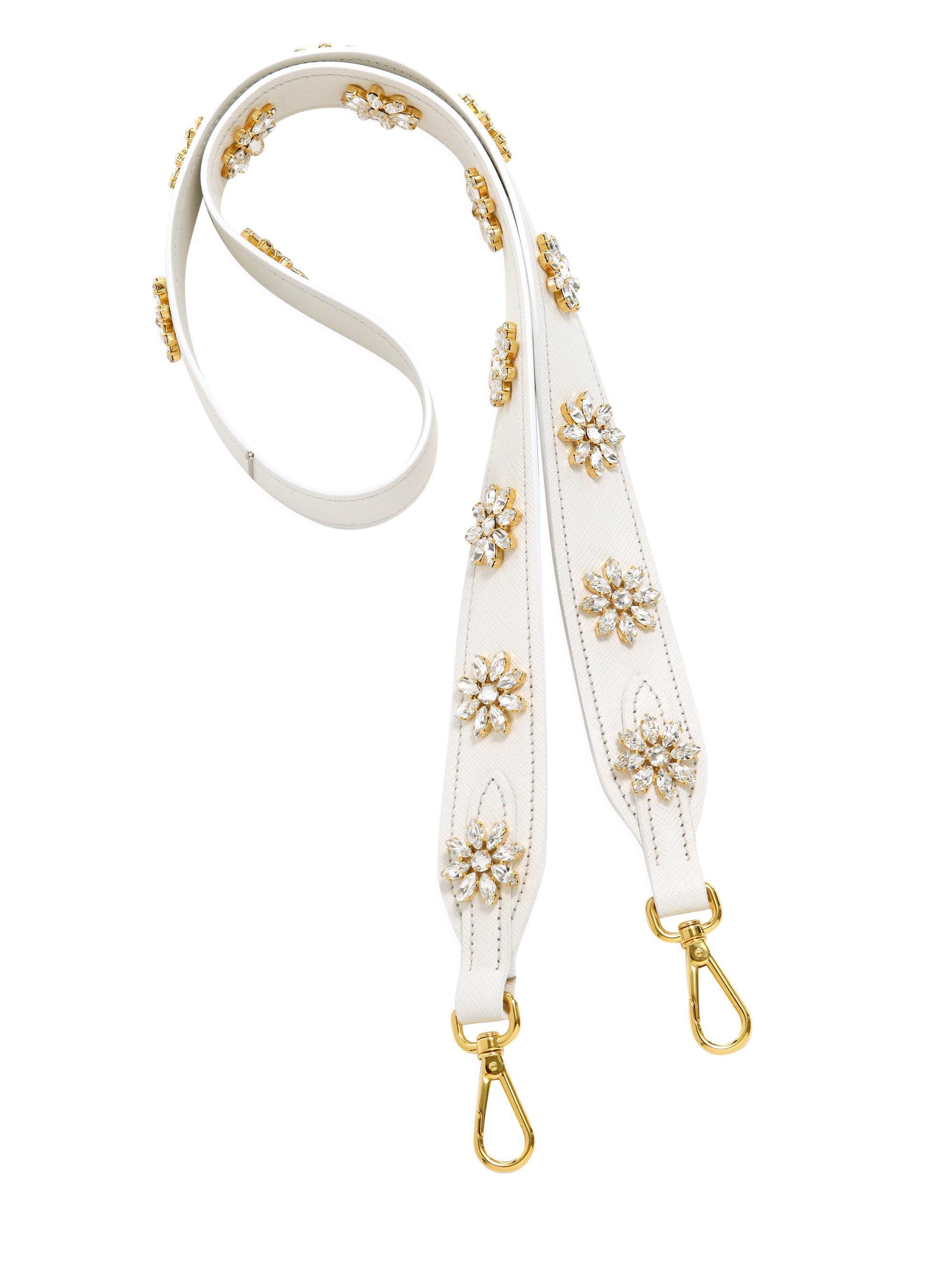 111000ee5fa749 Prada. Women's Crystal-embellished Saffiano Leather Shoulder Strap