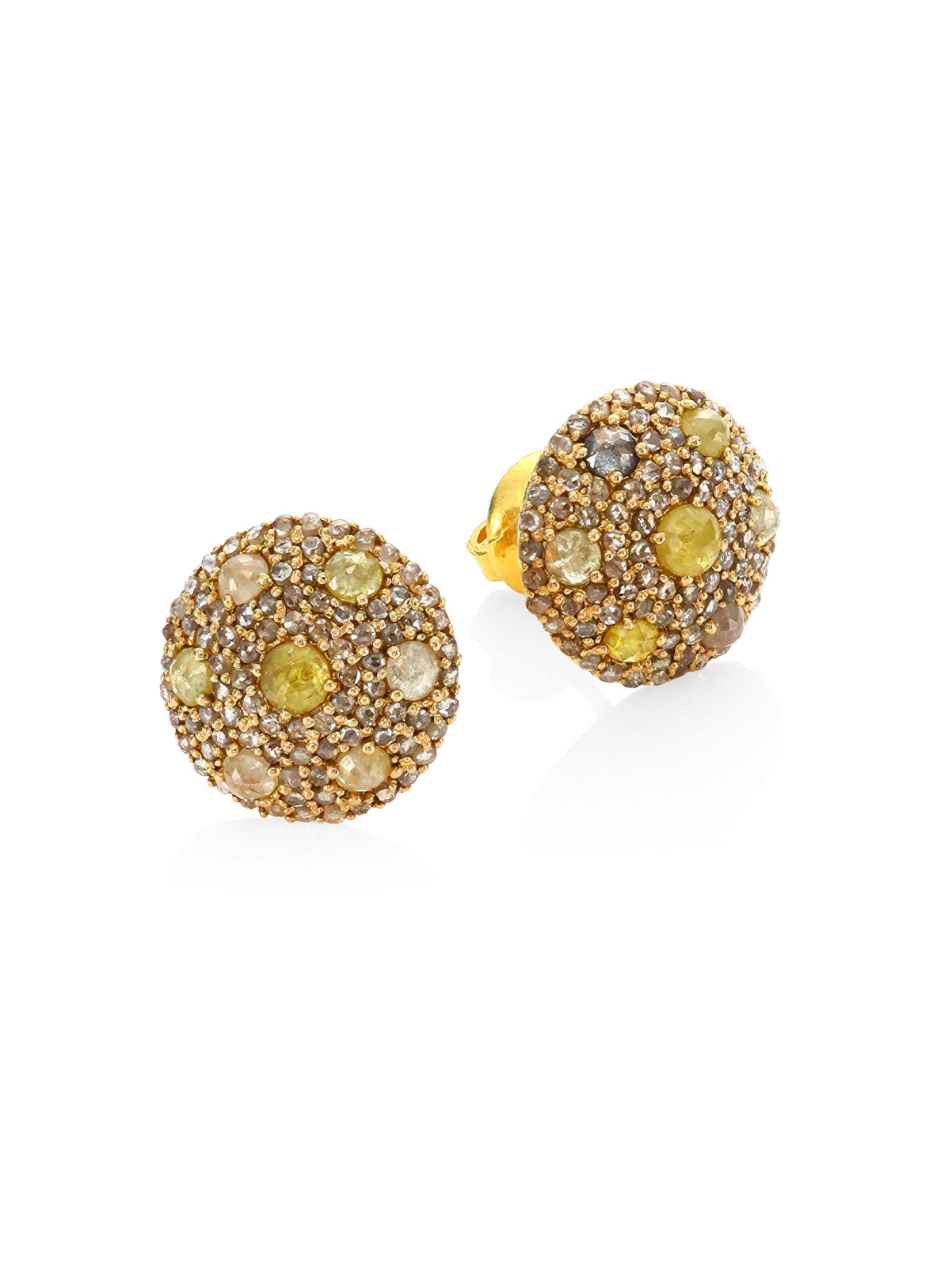 Bavna Diamond Pavé Stud Earrings 7Qy1PBC
