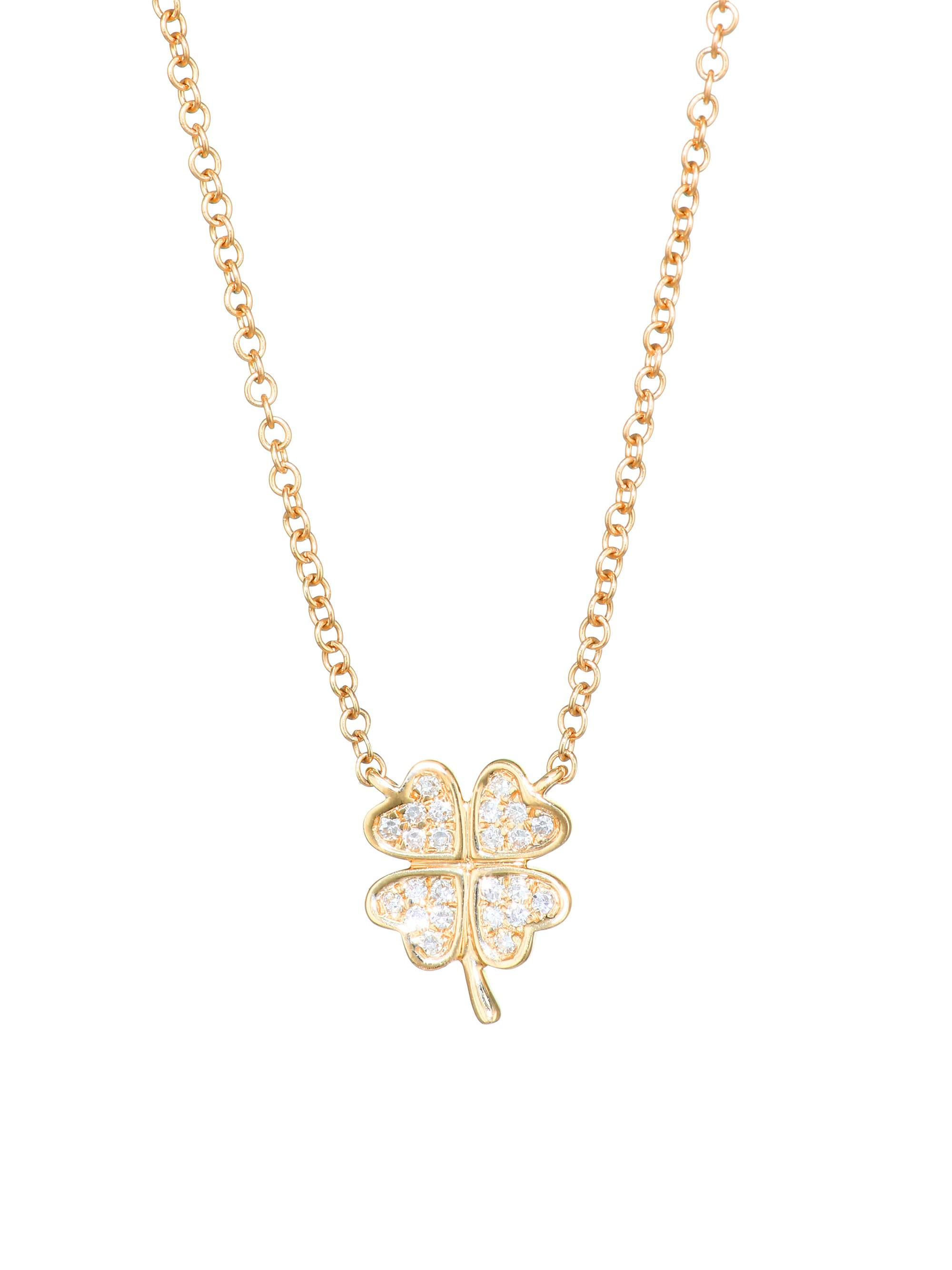 Lyst ef collection diamond mini clover pendant necklace in metallic ef collection womens metallic diamond mini clover pendant necklace aloadofball Image collections