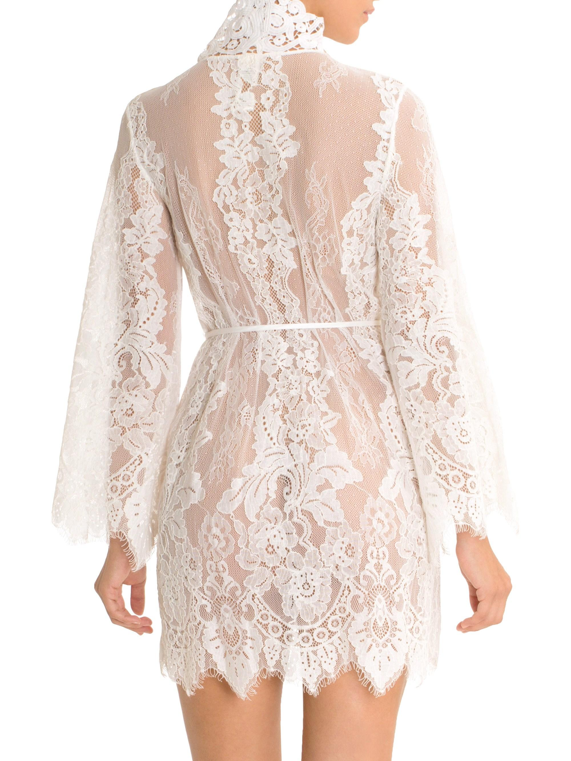 40be39a2af Jonquil Women s Lace Wrapper Robe - Ivory - Size Large in White - Lyst
