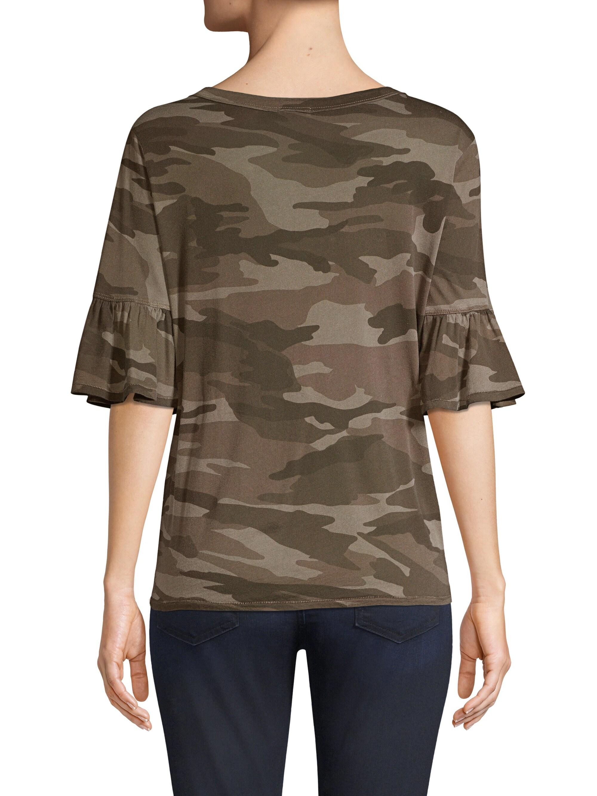 71da74a16 Splendid - Multicolor Camo Ruffle T-shirt - Lyst. View fullscreen