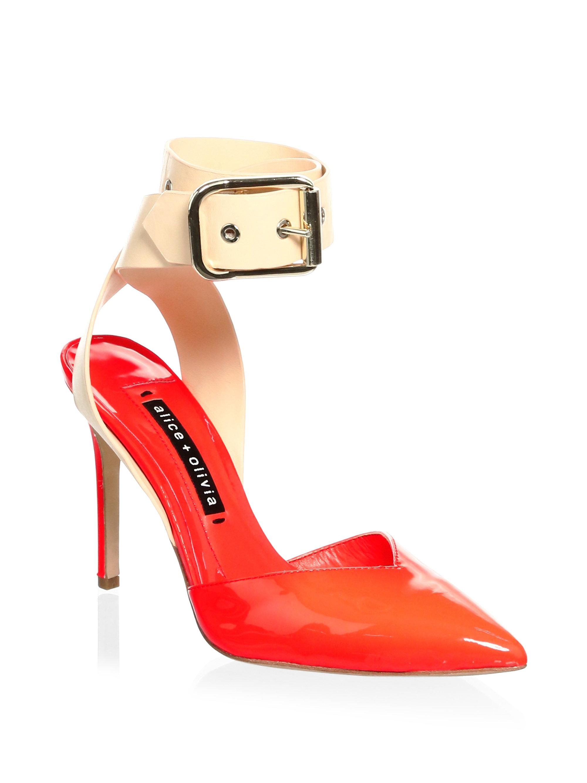 ALICE+OLIVIA Rachelle Patent Leather Point Toe Pumps PbAxO