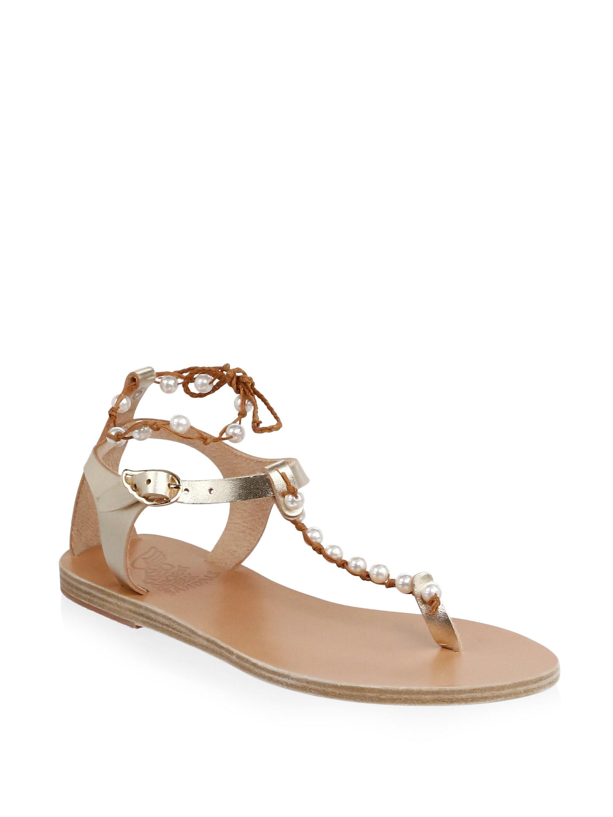 Ancient Greek Sandals. Women's Brown Chrysso Pearls Leather Sandals