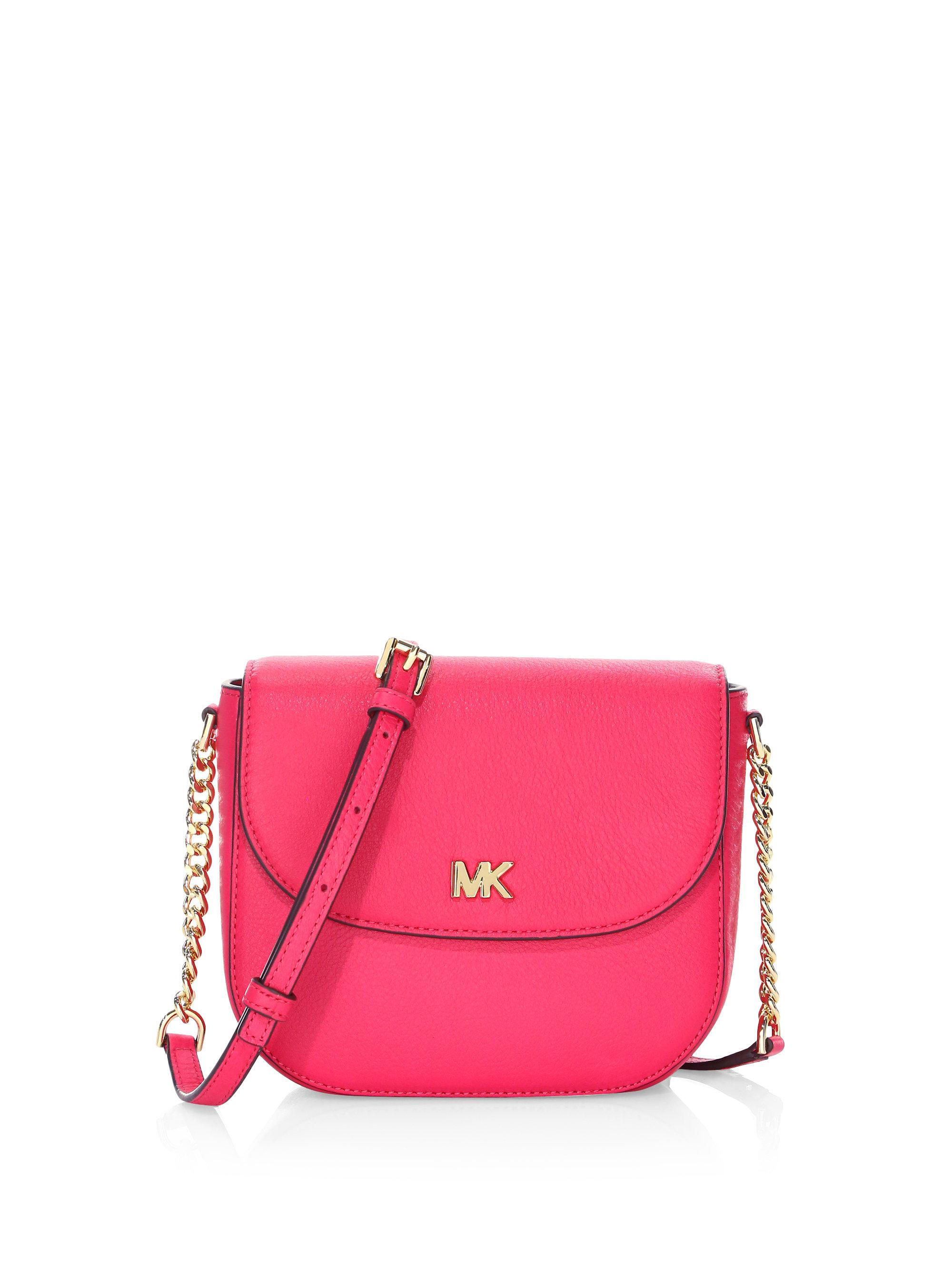 26a45fe0c9ab Michael Michael Kors Half Dome Leather Crossbody Bag in Pink - Lyst