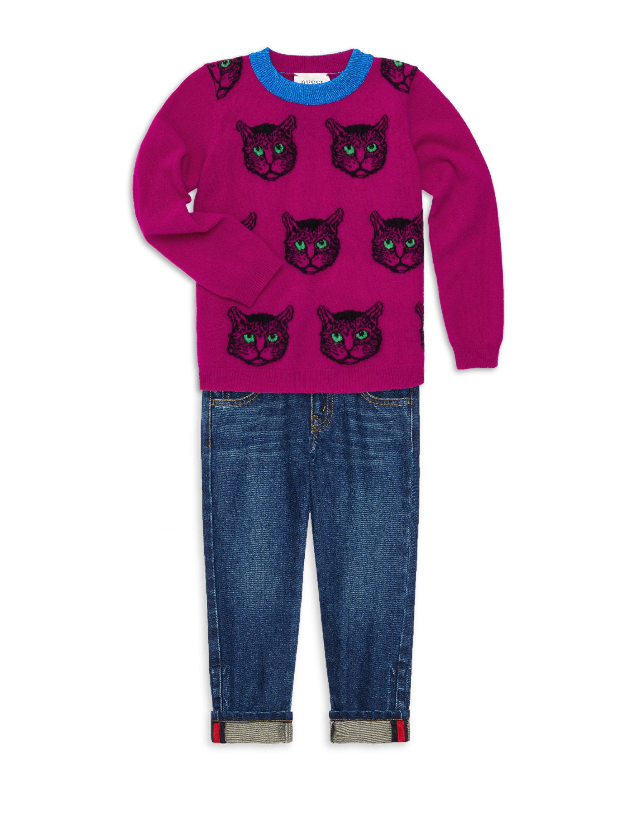 ef5f7e1950b Gucci Little Girl s   Girl s Wild Cat Pullover Sweater for Men - Lyst