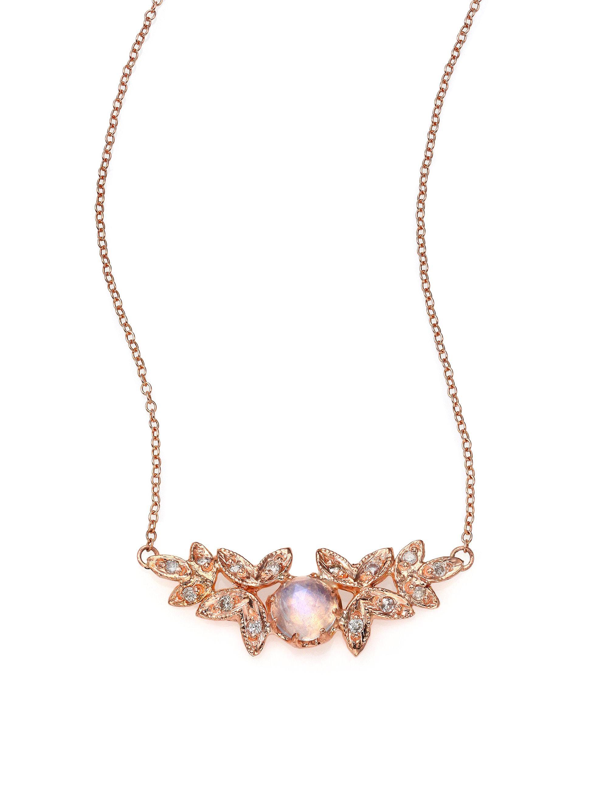 Jacquie Aiche Pavé Diamond Teardrop Necklace in 14K Rose Gold J1zlWeJLVR