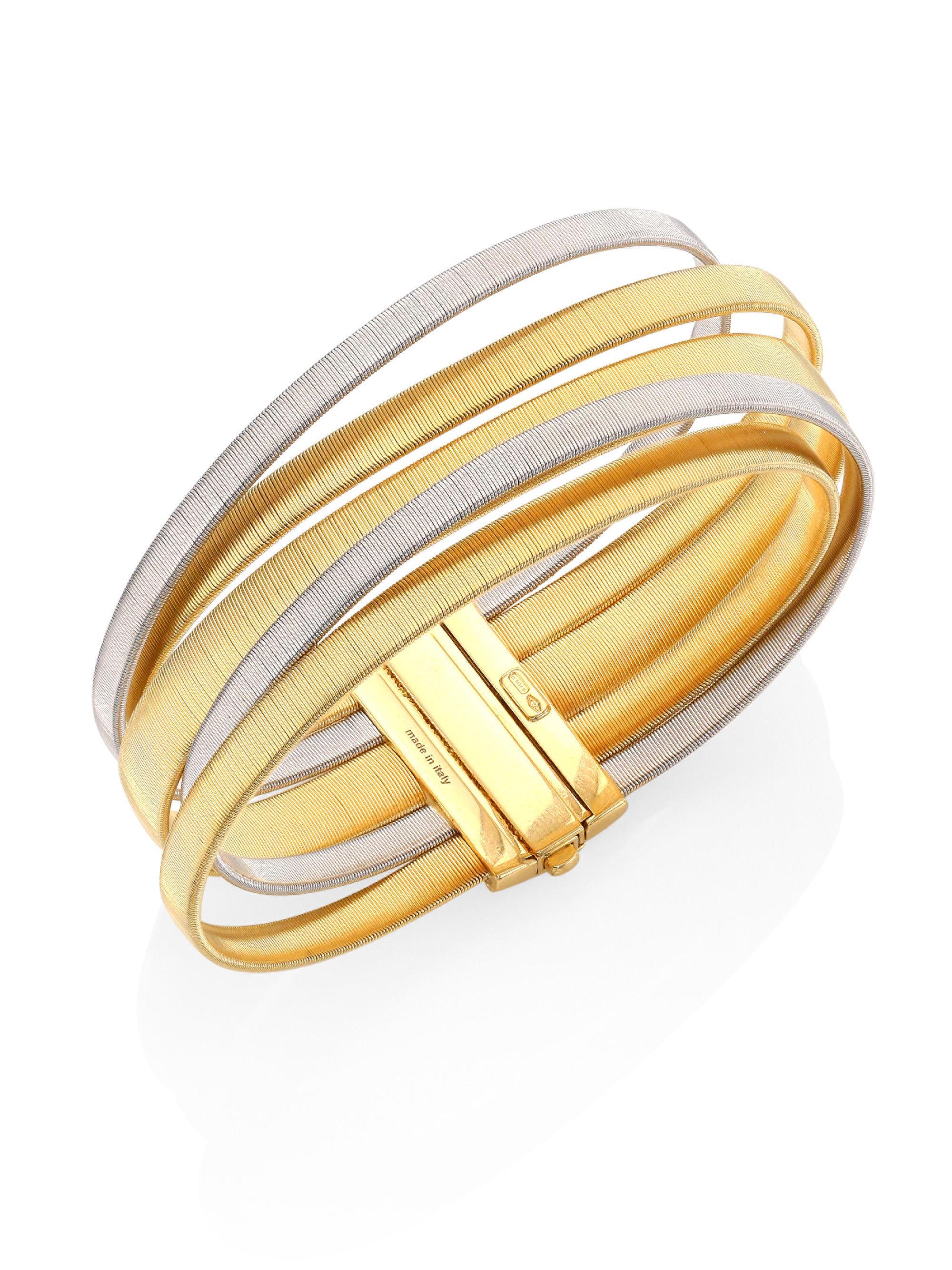 Marco Bicego Masai 18K White Gold Five-Strand Bracelet with Diamond Stations pbKXmyHCVy