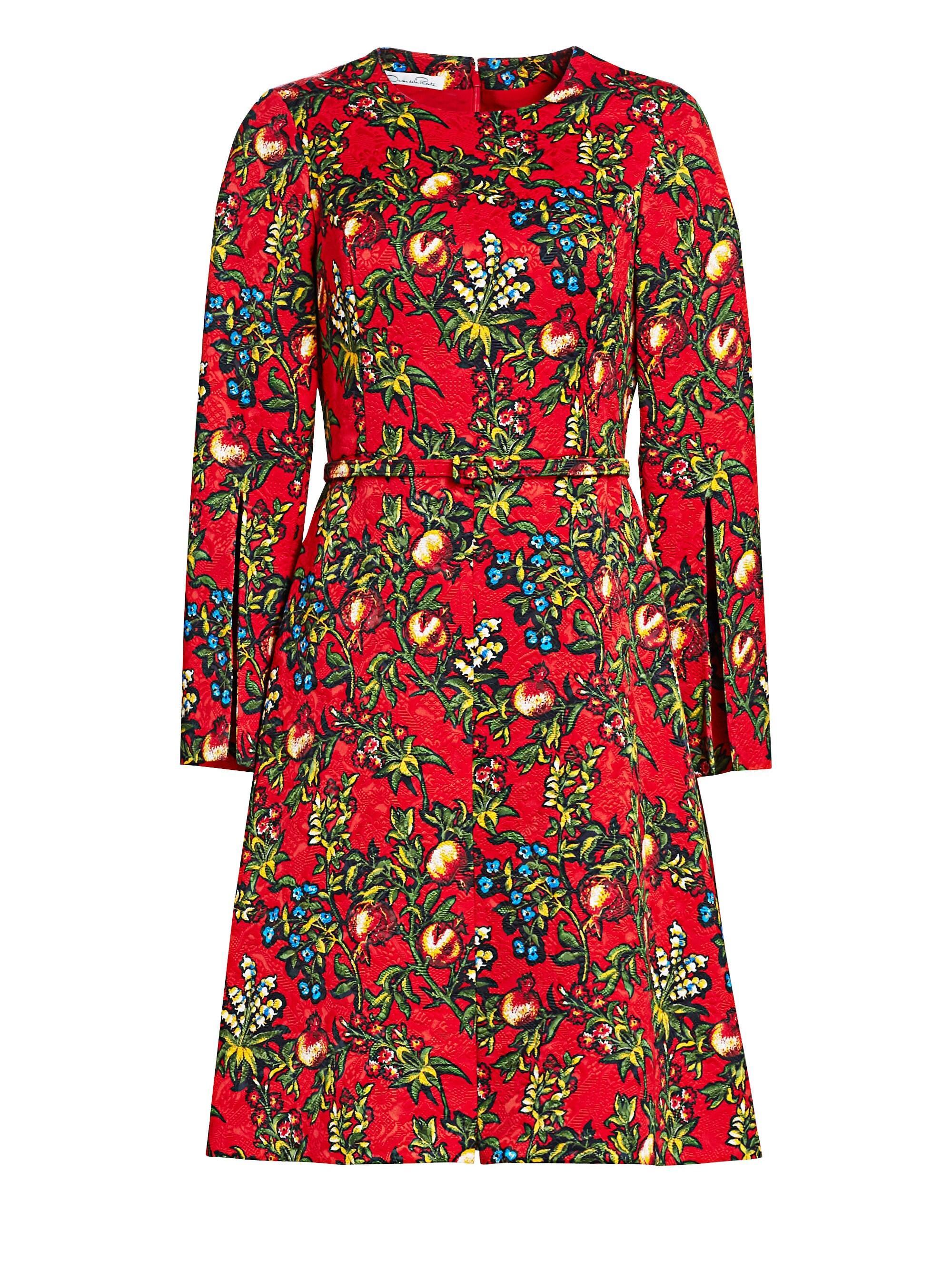 d4a2e934dbebbd Oscar de la Renta Pomegranate Jacquard A-line Dress in Black - Lyst