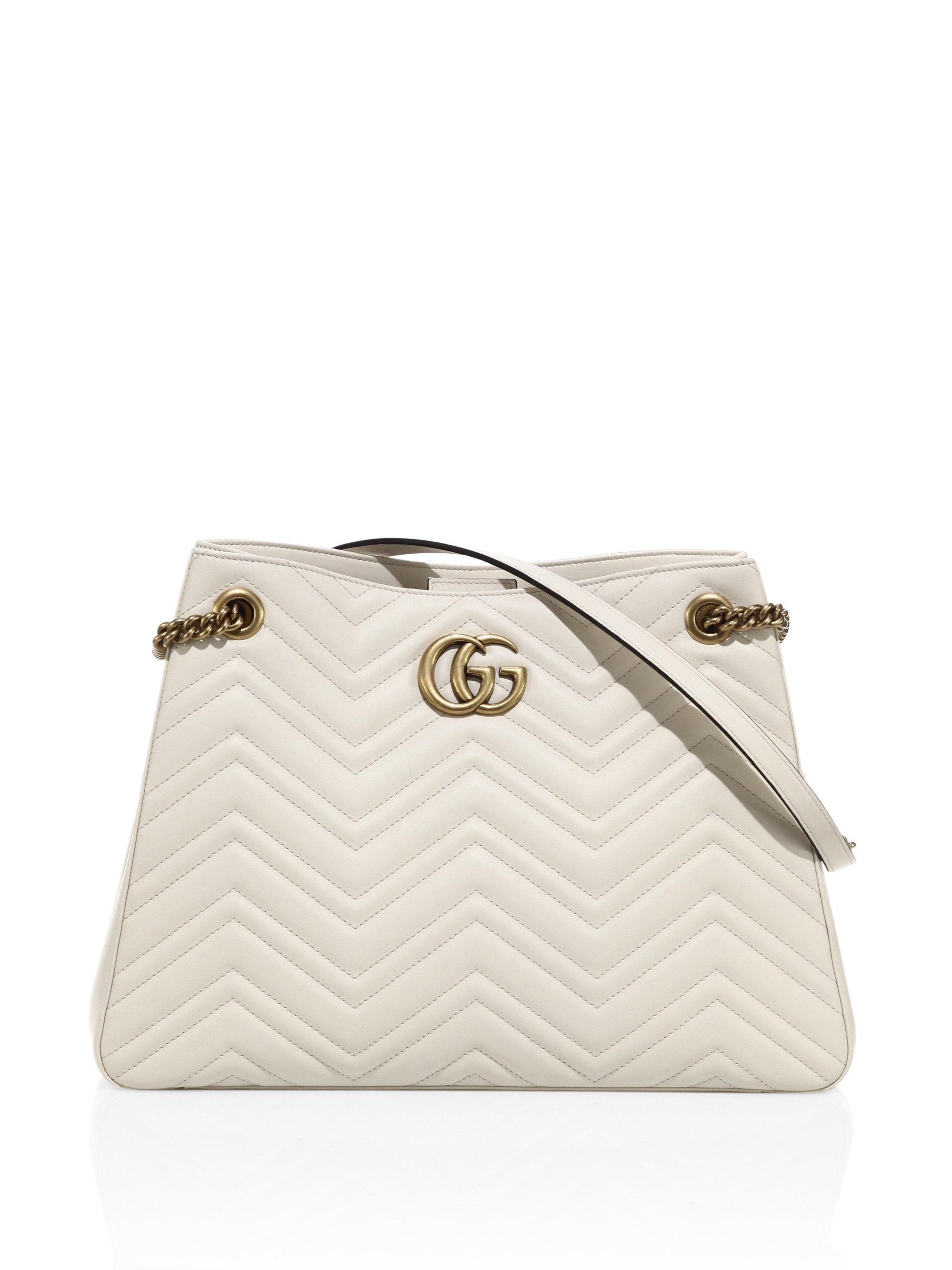 a4d17adf4f4 Lyst - Gucci Gg Marmont Matelasse Leather Shoulder Bag in White