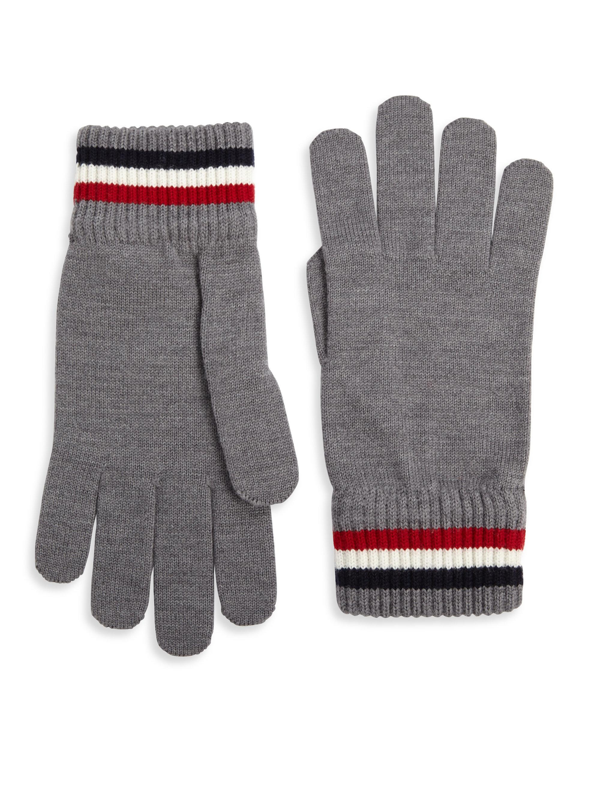 c35aee786a00 Lyst - Moncler Striped Virgin Wool Gloves in Gray for Men