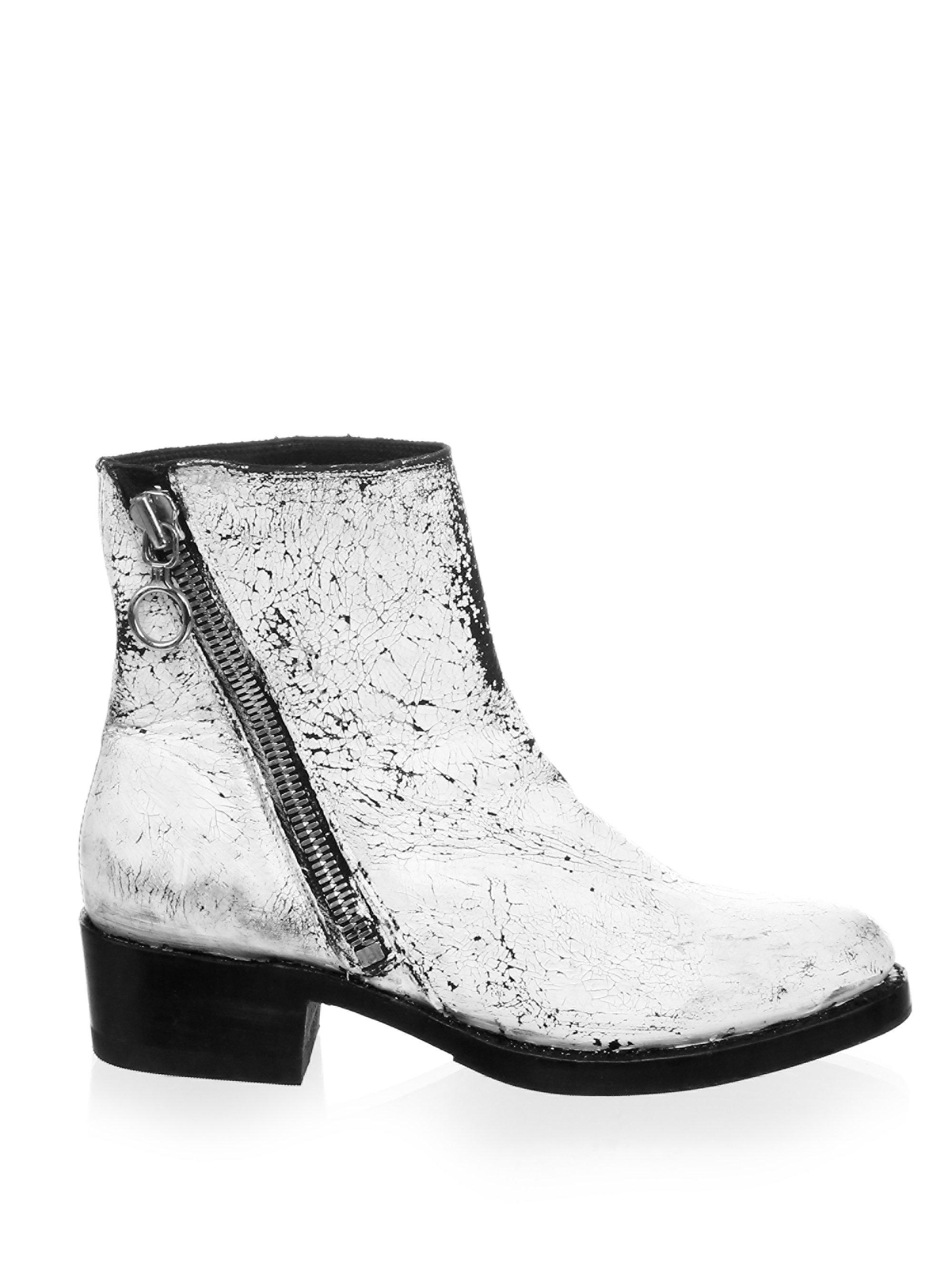 Frye Crackle Paint Patent Leather Booties BySdD